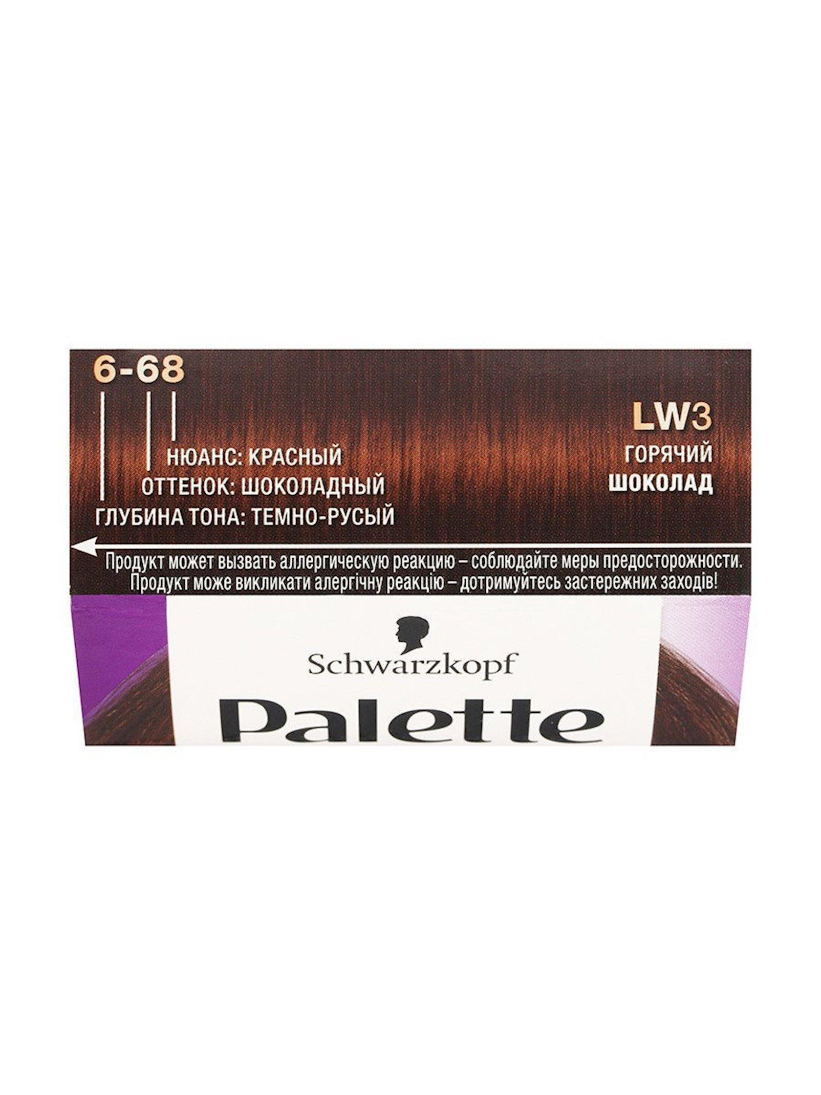 Saç üçün qalıcı krem-boya Palette LW3 6-68 İsti şokolad