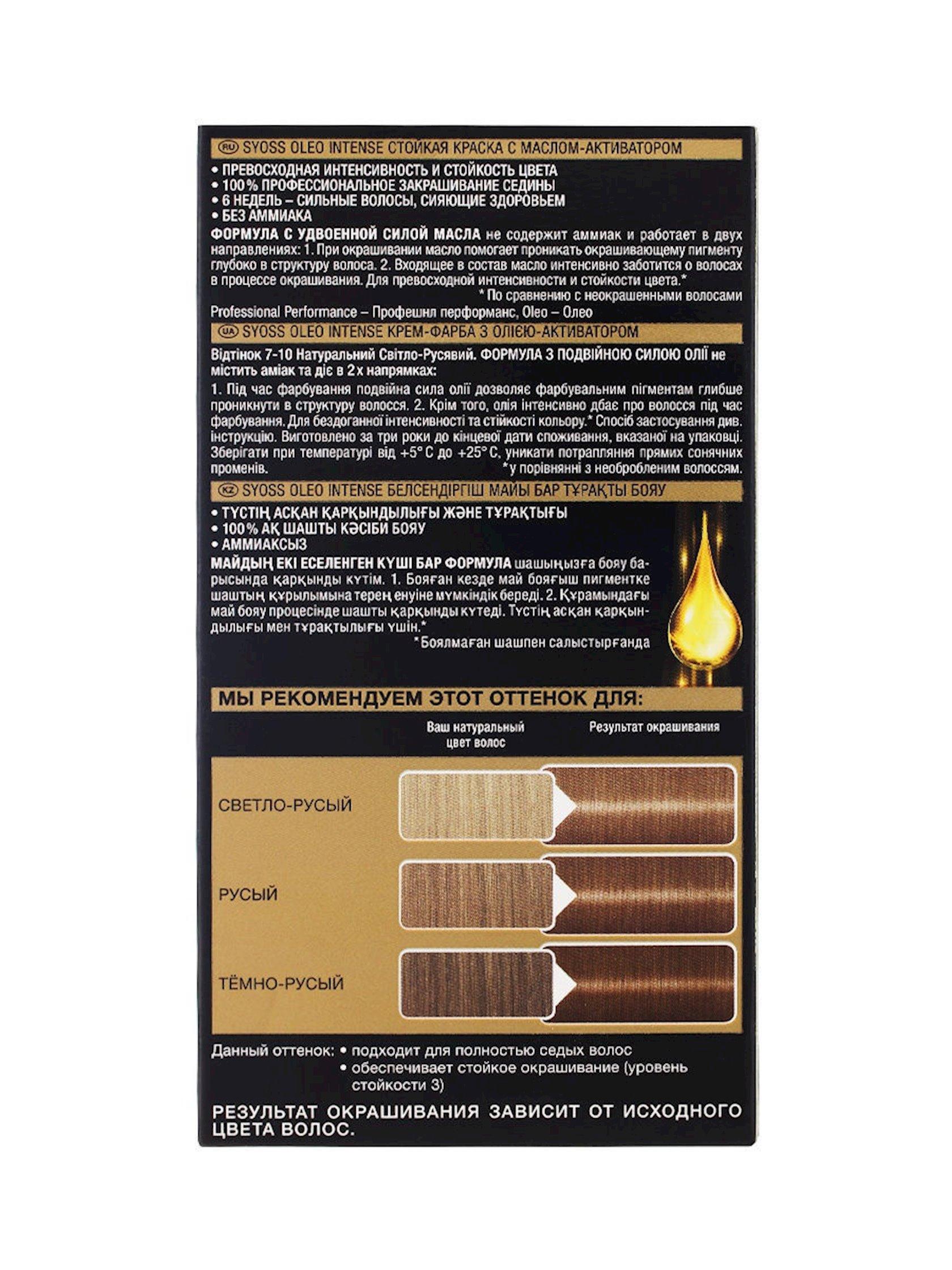 Saç üçün qalıcı krem-boya Syoss Oleo İntense ammonyaksız 7-10 Təbii açıq sarışın