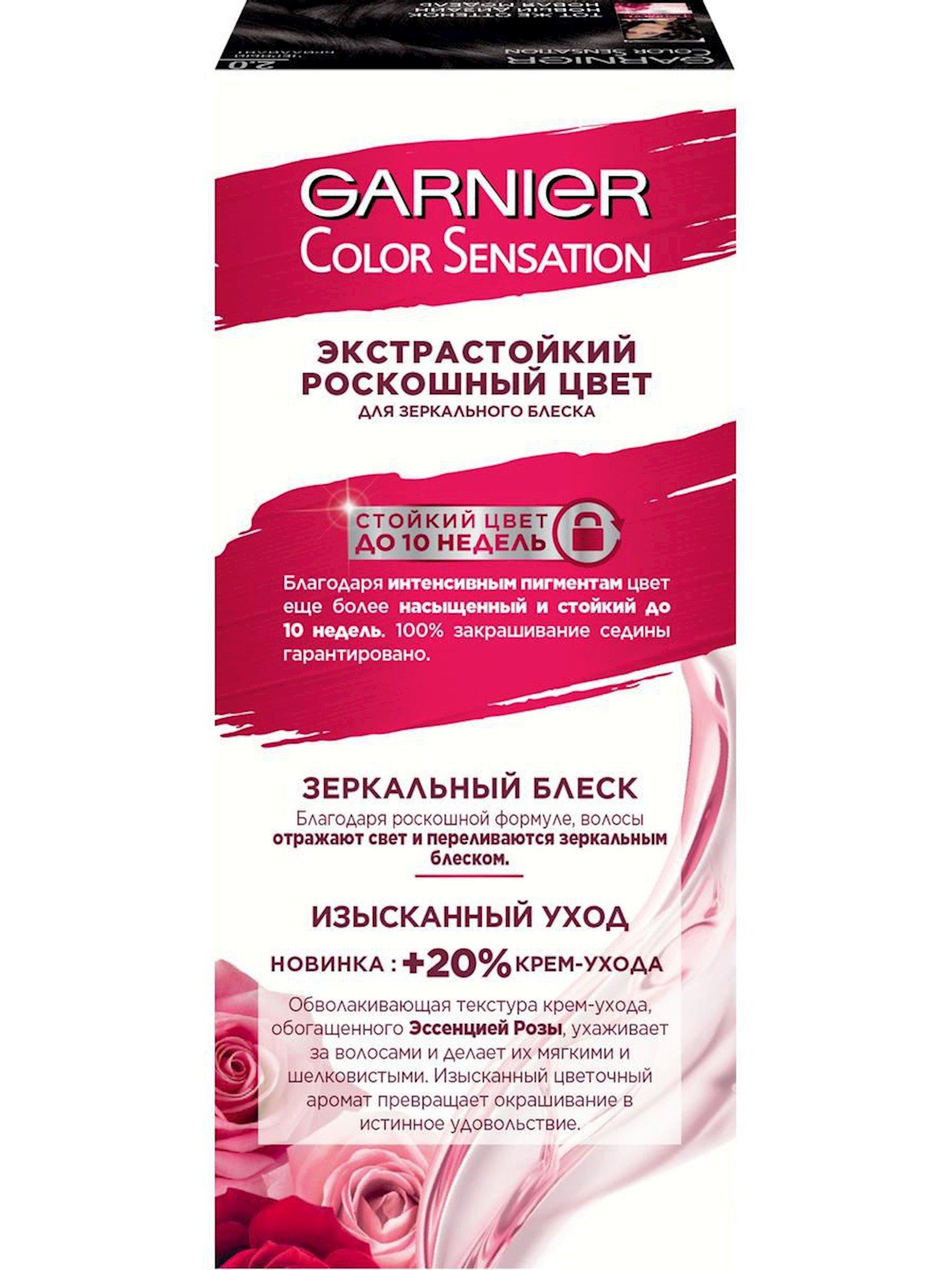 Saç üçün qalıcı krem-boya Garnier Color Sensation Dəbdəbəli rəng 2.0 Qara brilliant