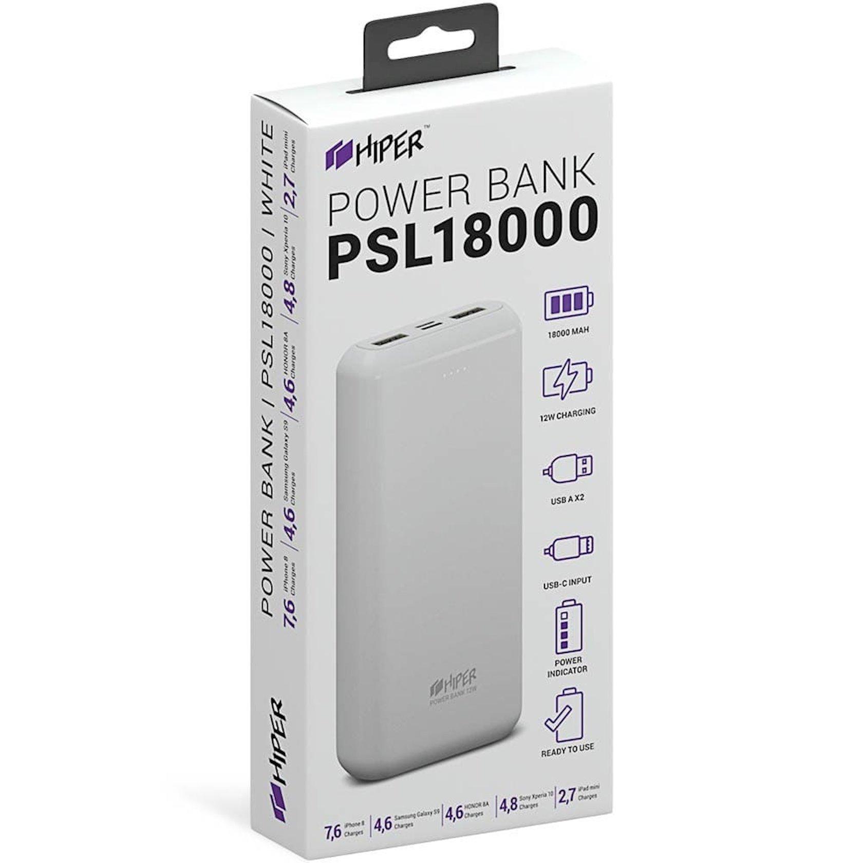 Xarici akkumulyator Hiper Power Bank 18000 mA/saat PSL18000 White