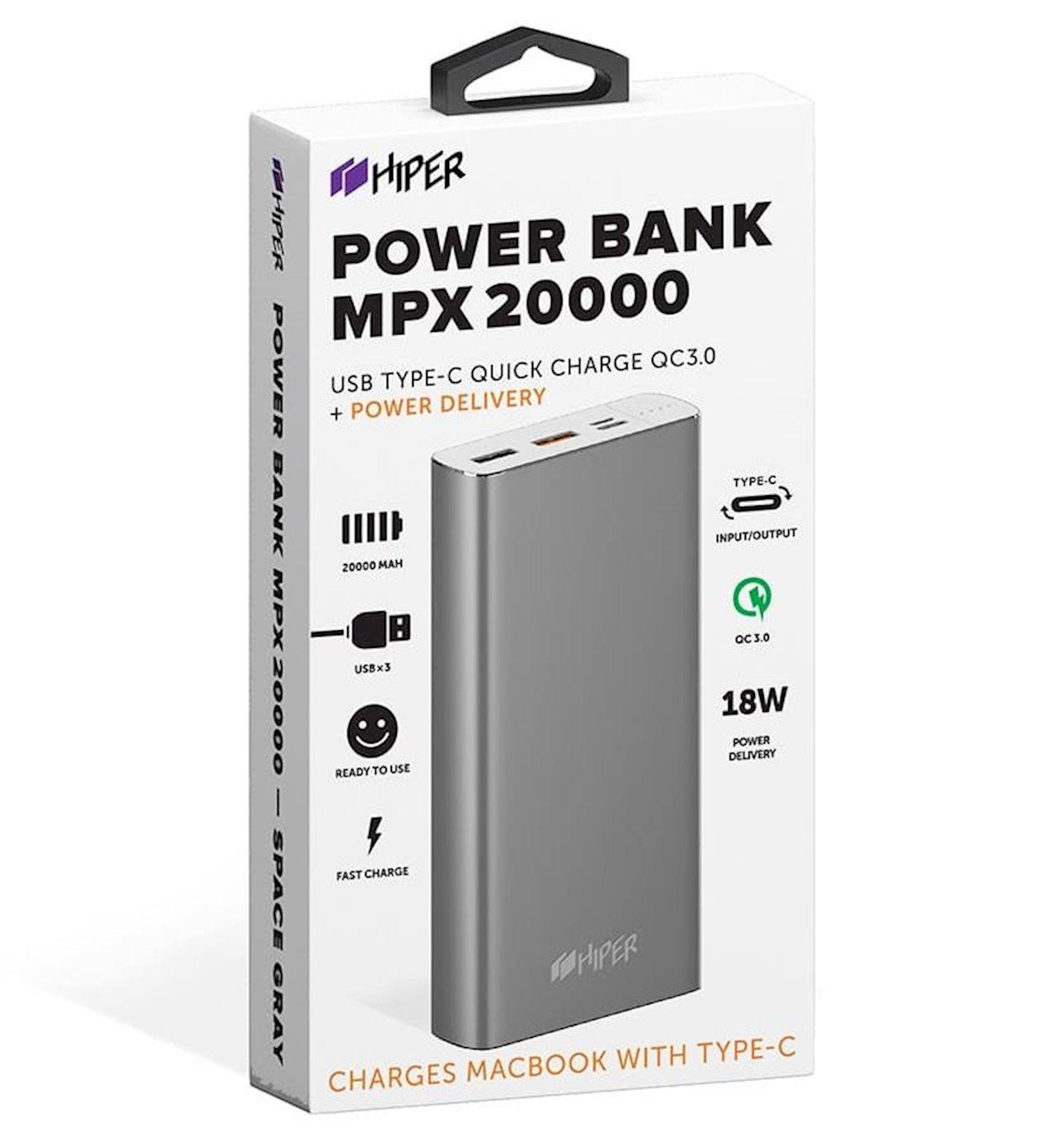 Xarici akkumulyator Hiper Power Bank 20000 mA/saat MPX20000 Space Gray