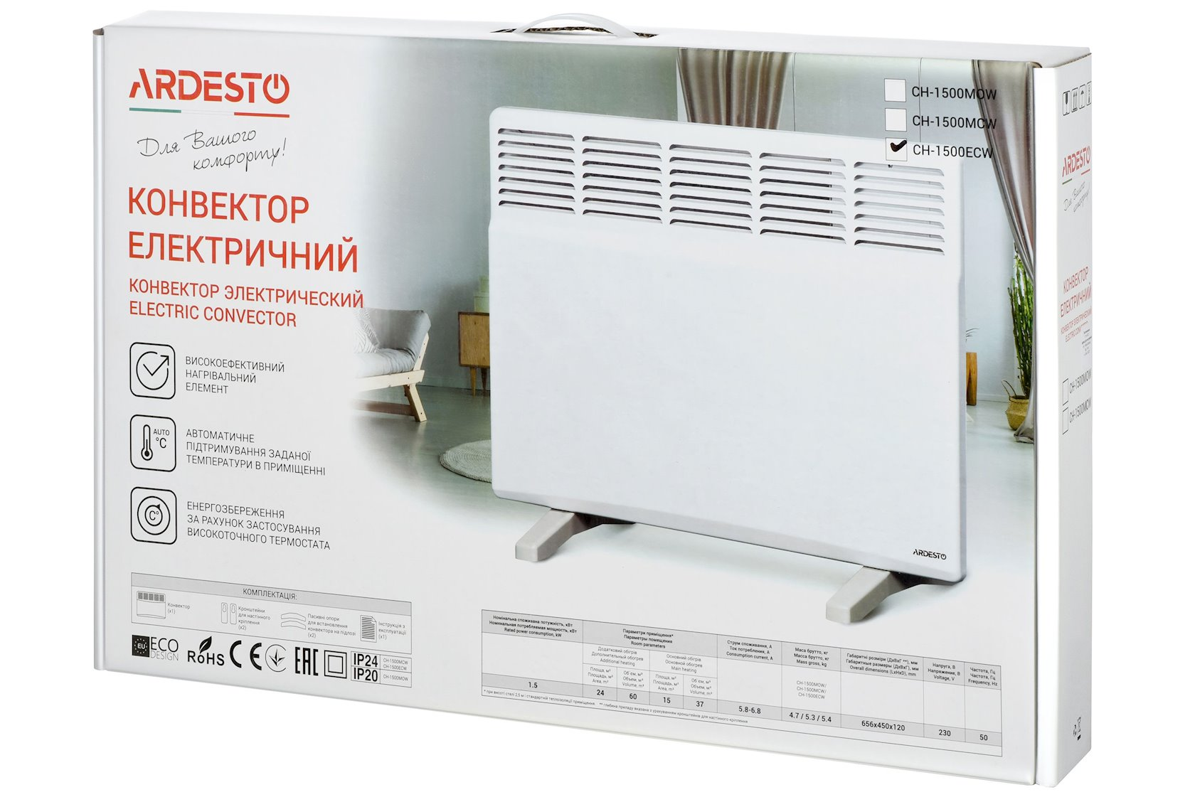 Konvektor Ardesto CH-1500ECW