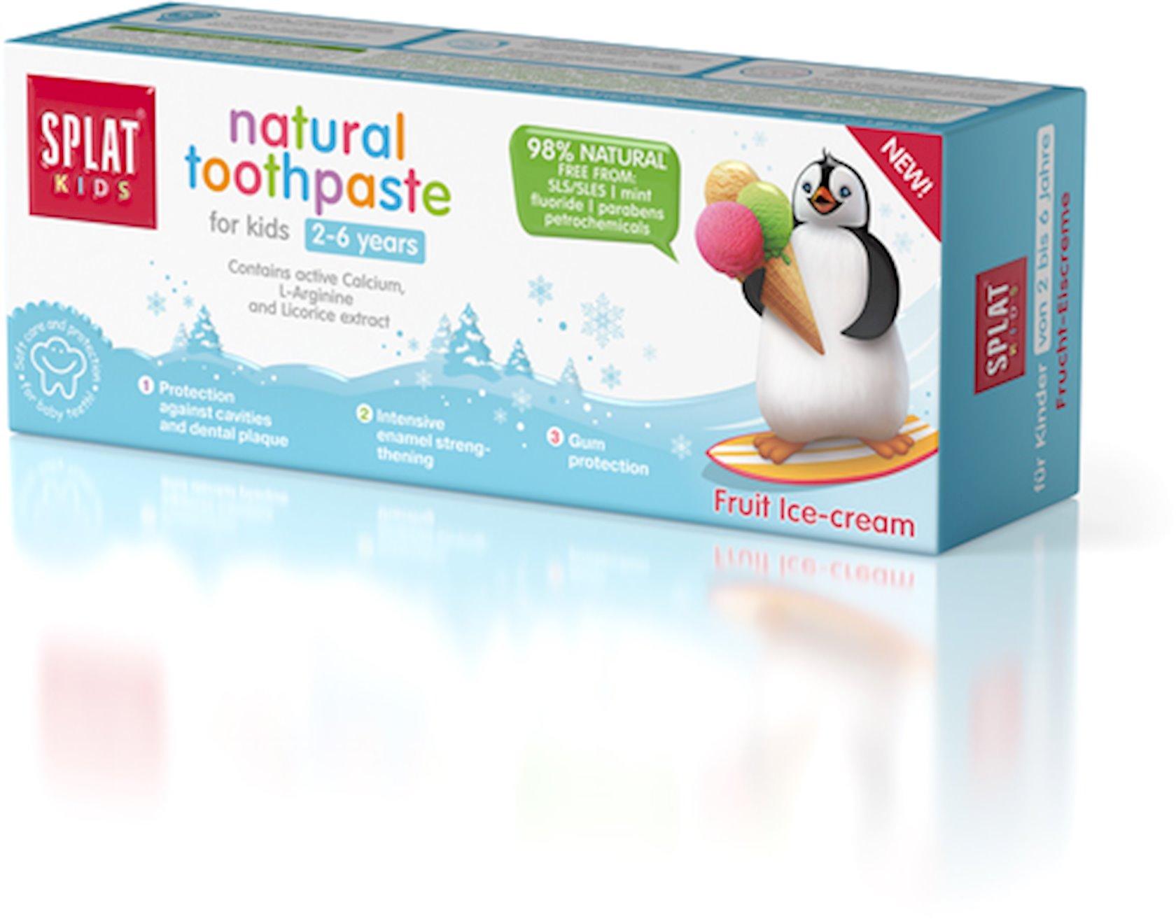 Diş pastası uşaqlar üçün Splat kids bakteriyalardan və kariyesdən müdafiə, Meyvəli dondurma, 50 ml