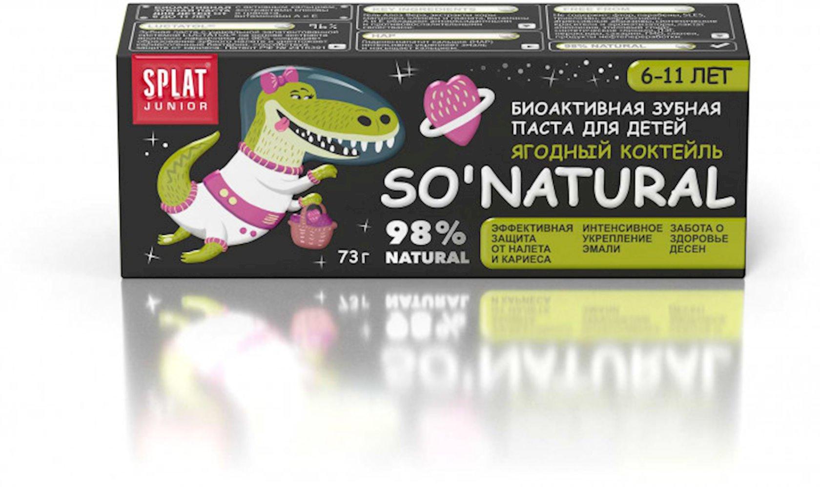 Diş pastası uşaqlar üçün Splat Junior bakteriyalardan və kariyesdən müdafiə, giləmeyvəli kokteyl, 55 ml