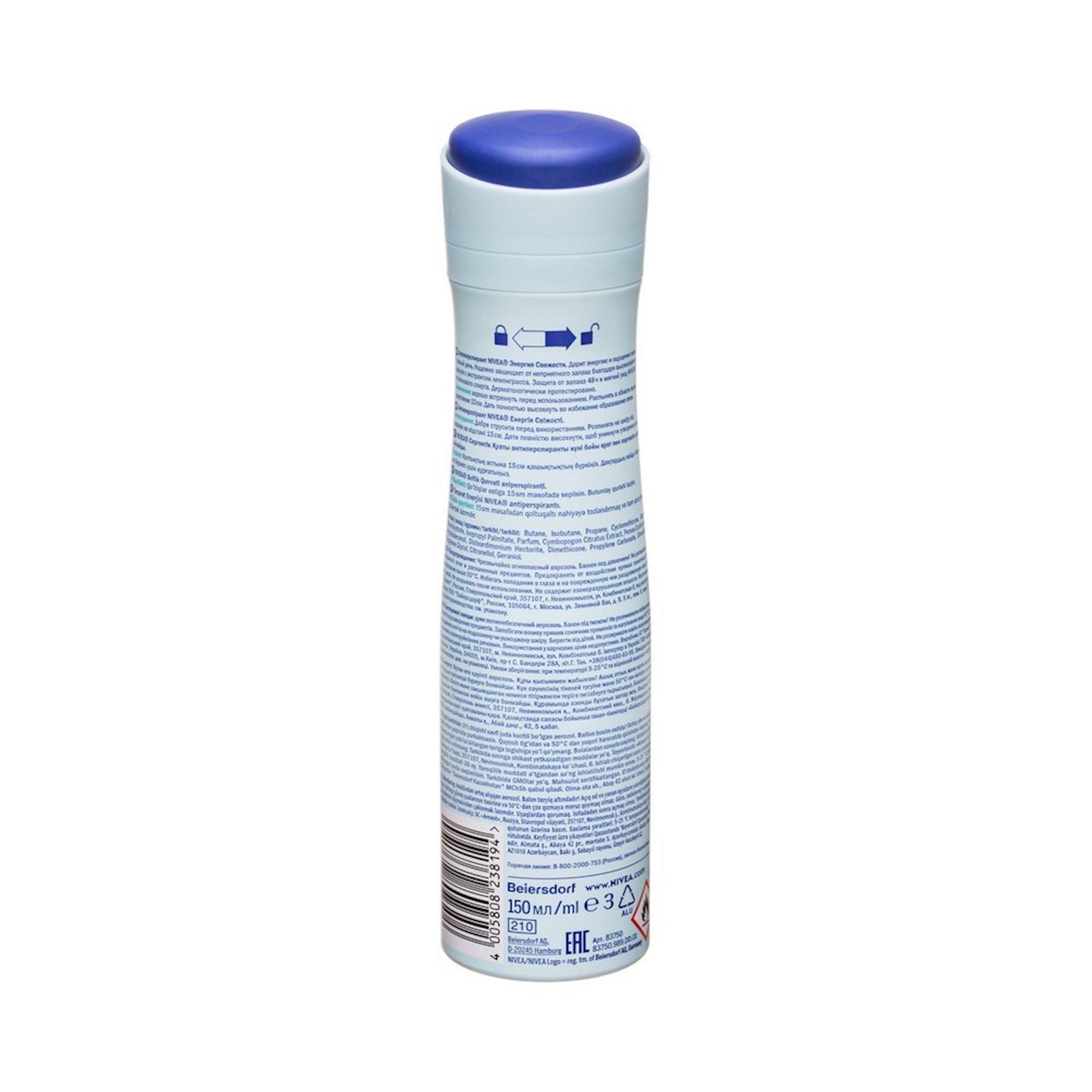 Dezodorant-antiperspirant Nivea Təravətin enerjisi lemonqras ekstraktı ilə 150 ml