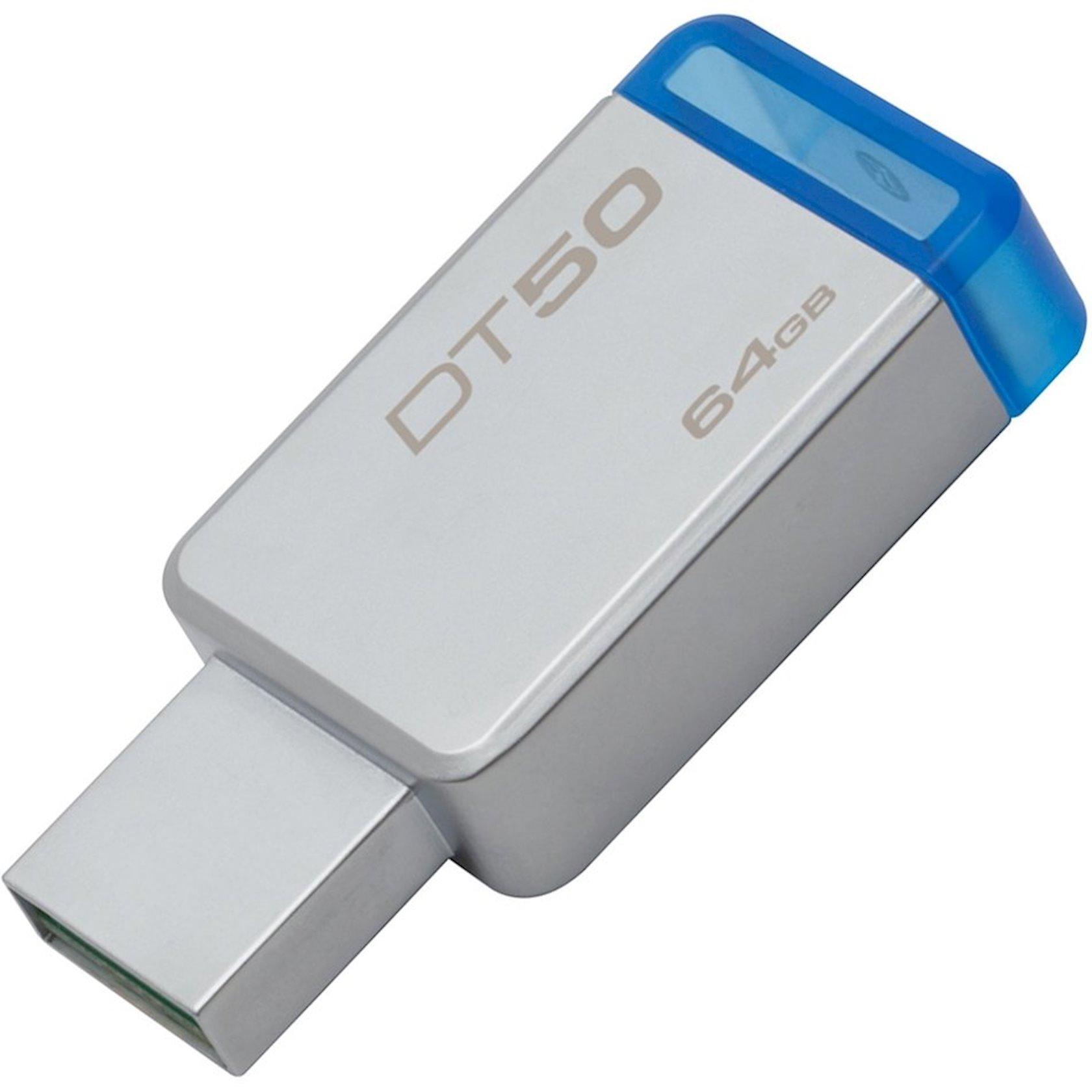 Flash yaddaş Kingston 64GB USB 3.0 DataTraveler 50 Metal Blue