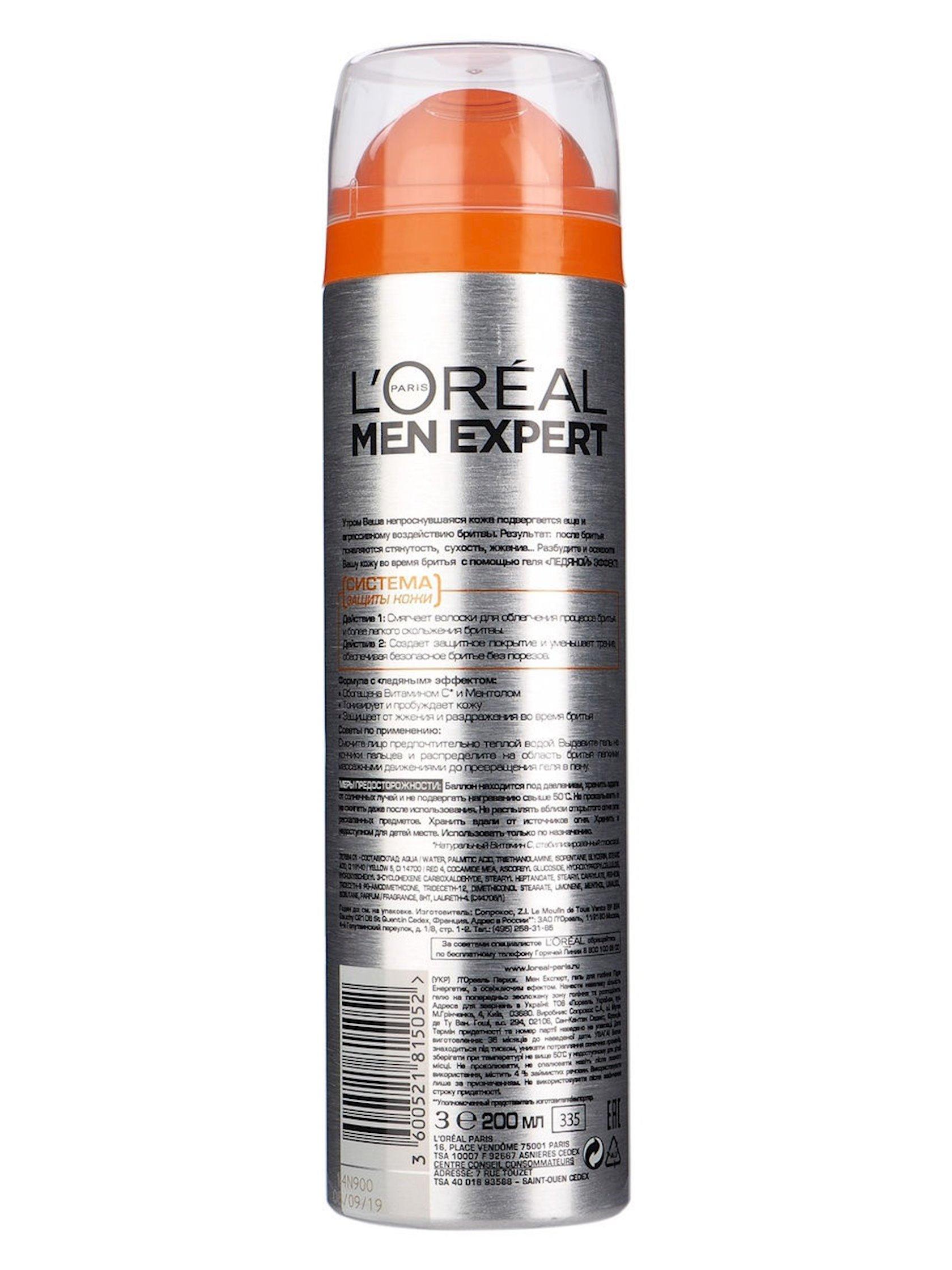 Təraş geli L'Oreal Paris Men Expert Buz effekti 200 ml