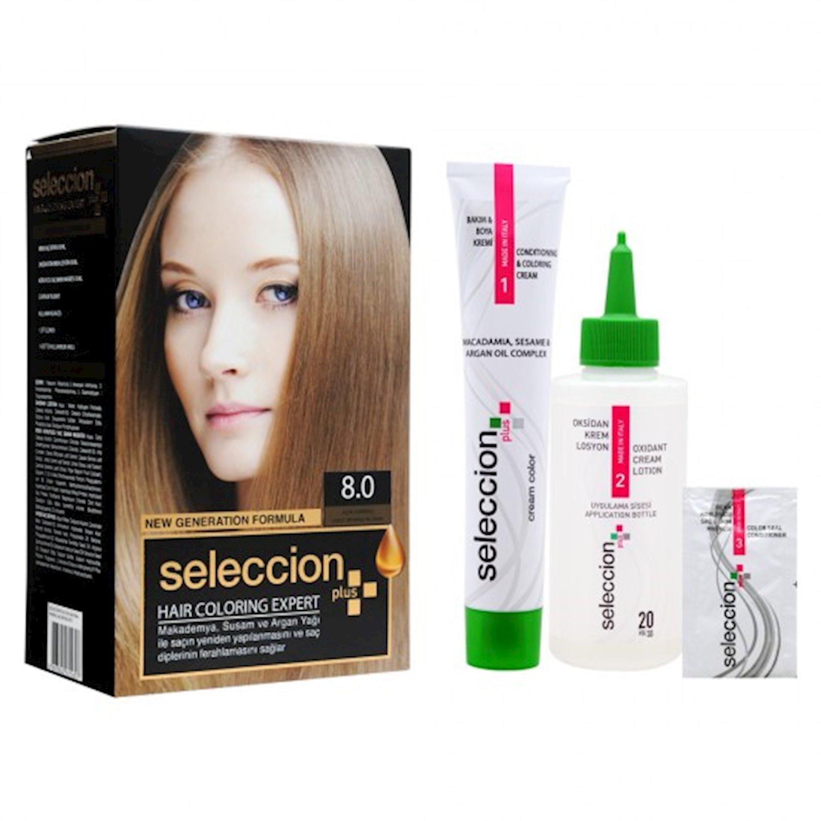 Saç boyası Seleccion Plus Set Plus Set Color 8.0 Açıq qəhvəyi 110 ml
