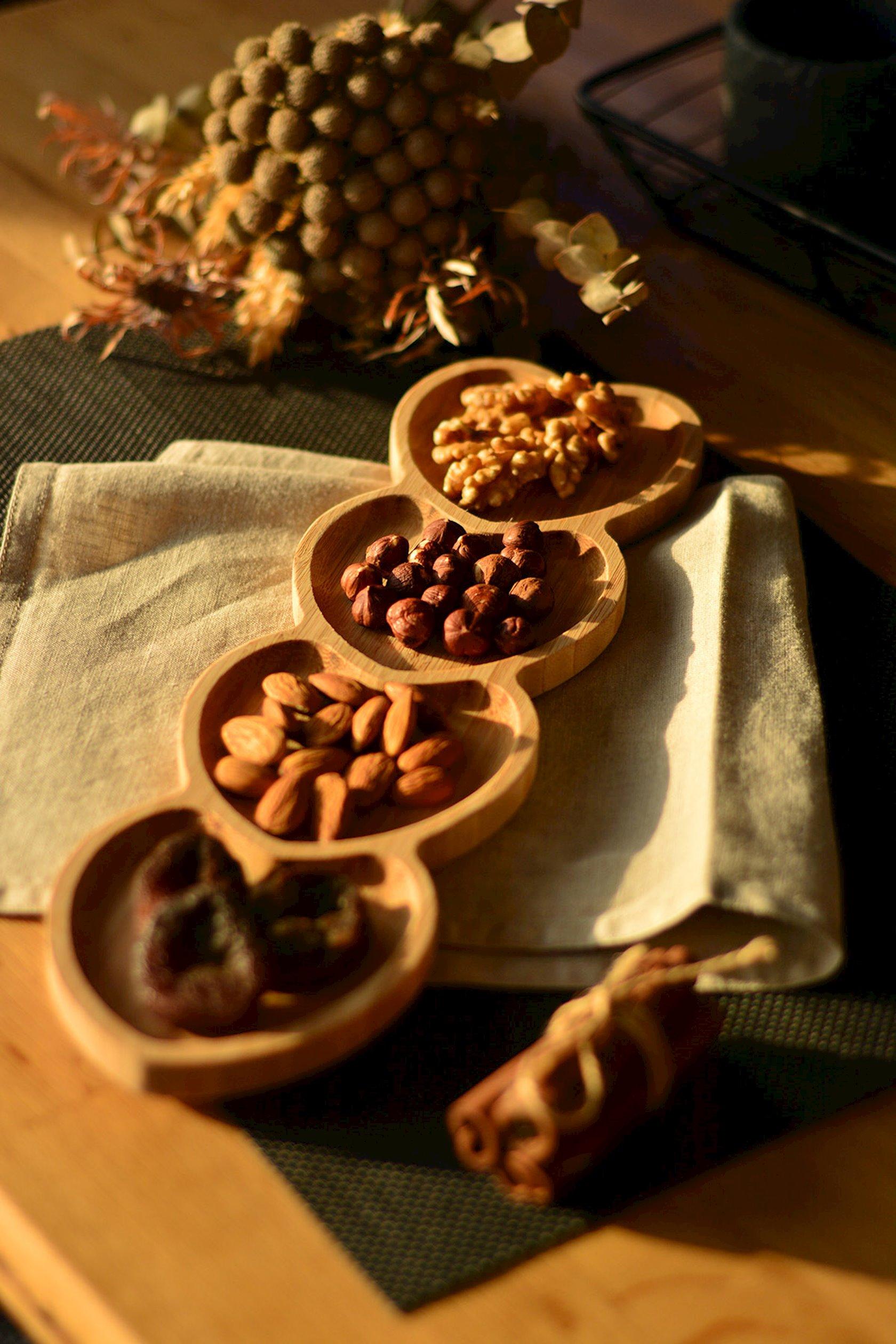 Çərəz qabı Baku Home Decor, 4 əd, ürək formasında, bambuk