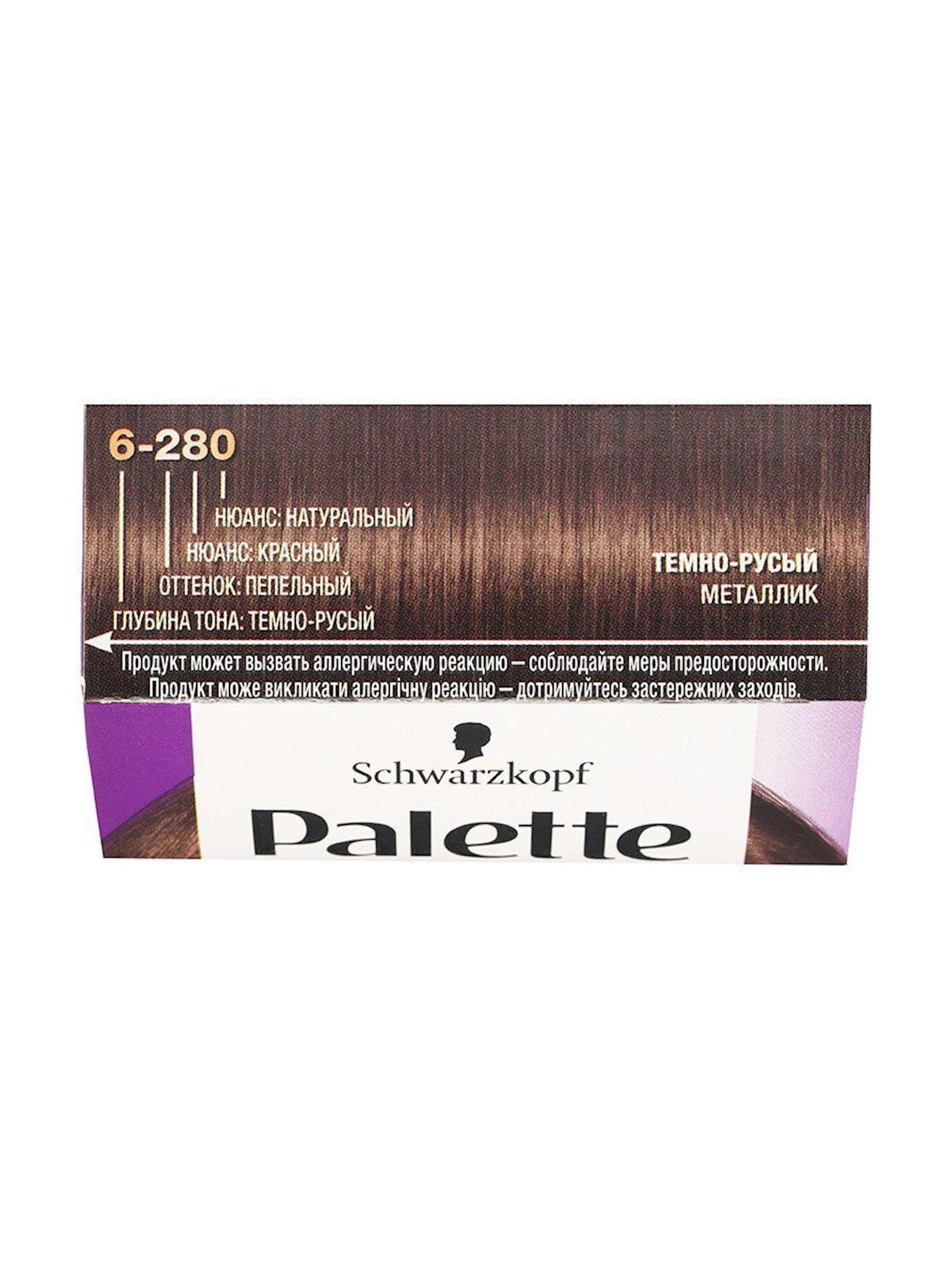 Davamlı krem-boya Palette  Intensive Color, çalar 6-280 Tünd xurmayı metallik, 110 ml