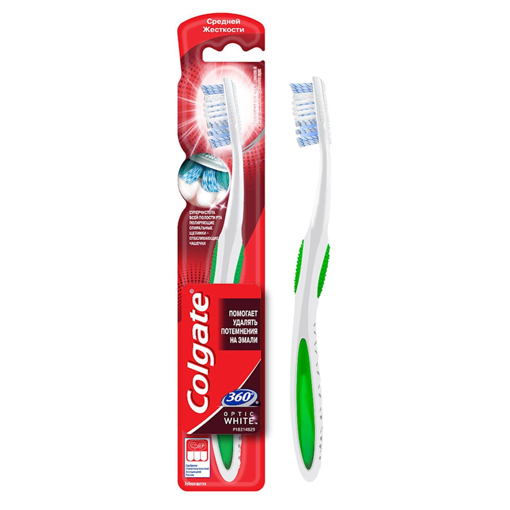 Diş fırçası Colgate 360° Optic White ağardıc orta sərtlikli
