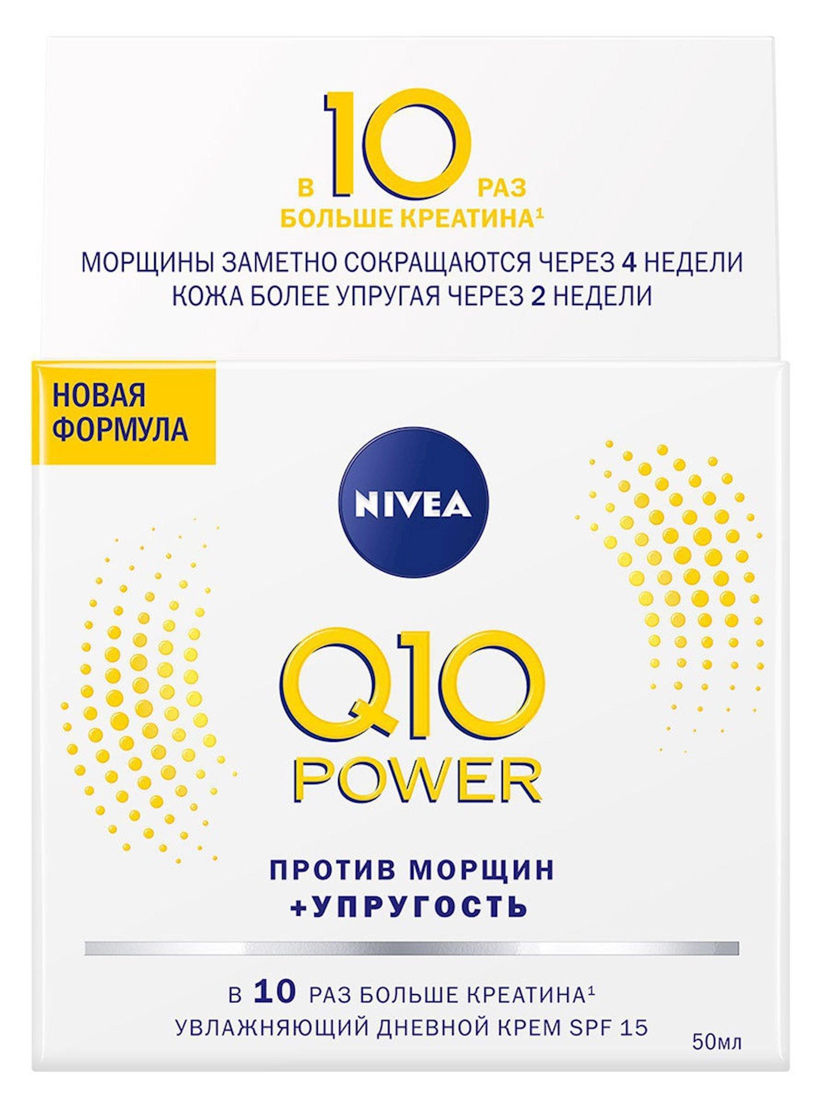 Üz üçün gündüz kremi Nivea Q10 Power Nəmləndirici Yaş əleyhinə qırışlara qarşı, 50 ml