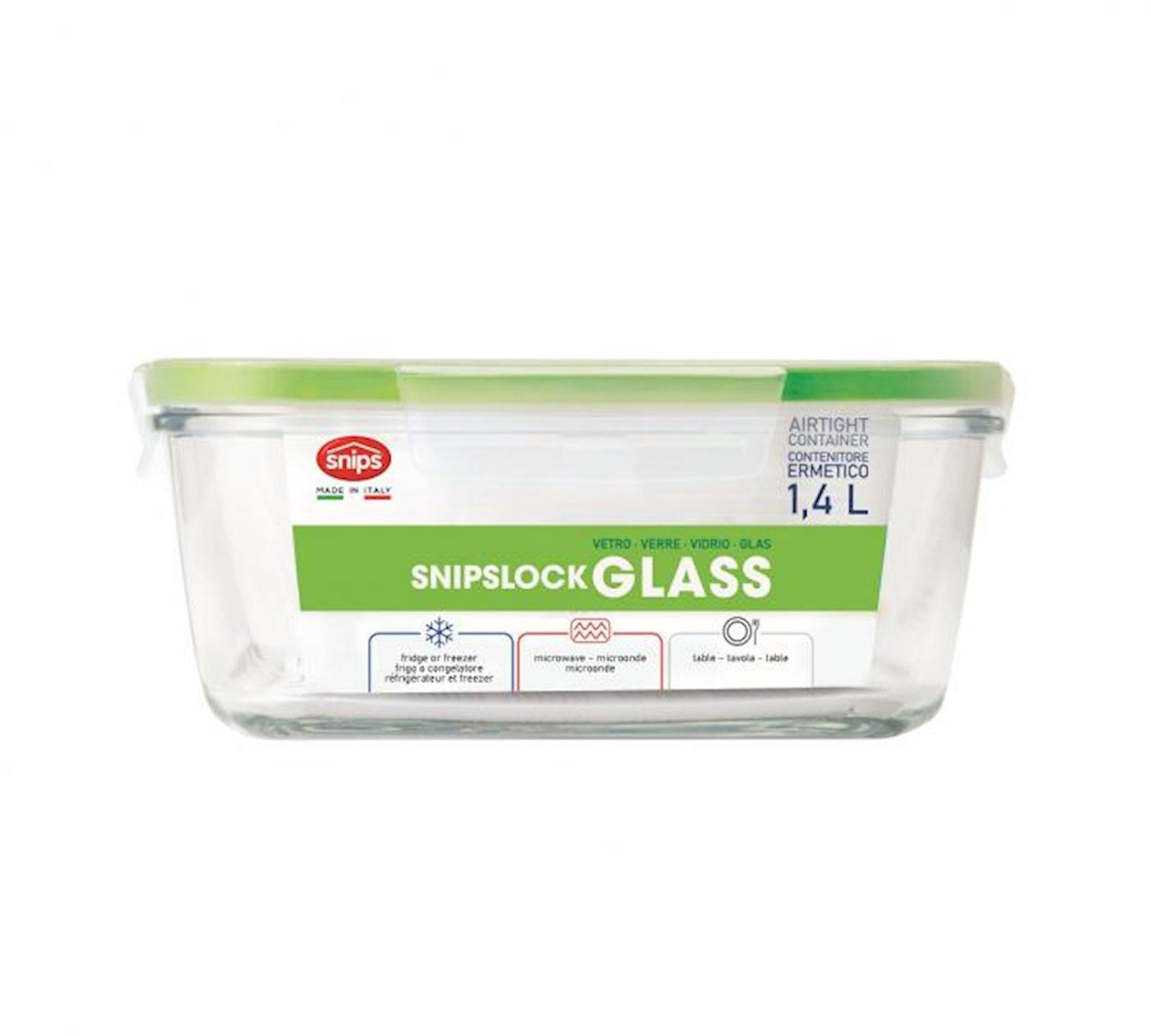 Saxlama qabı Snips SnipsLock Glass Decorated, 1.4 l, yaşıl, kvadrat