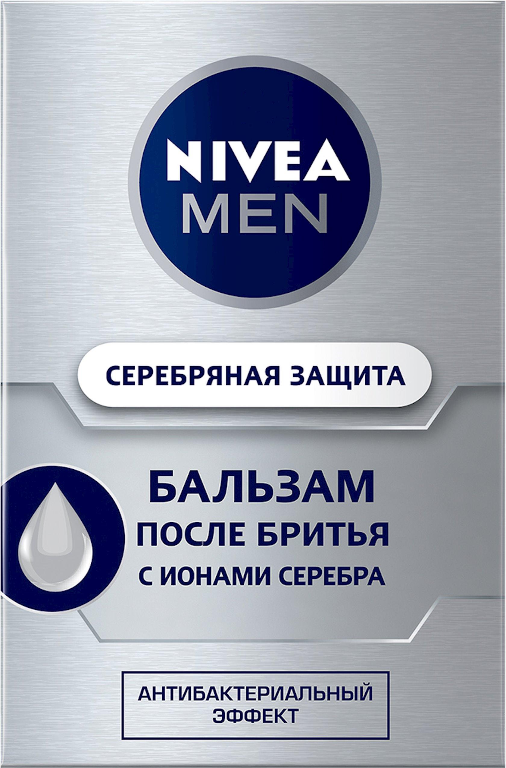 Təraş sonrası balzam Nivea Men Gümüşü Müdafiə gümüş ionları və antibakterial effekt ilə 100 ml