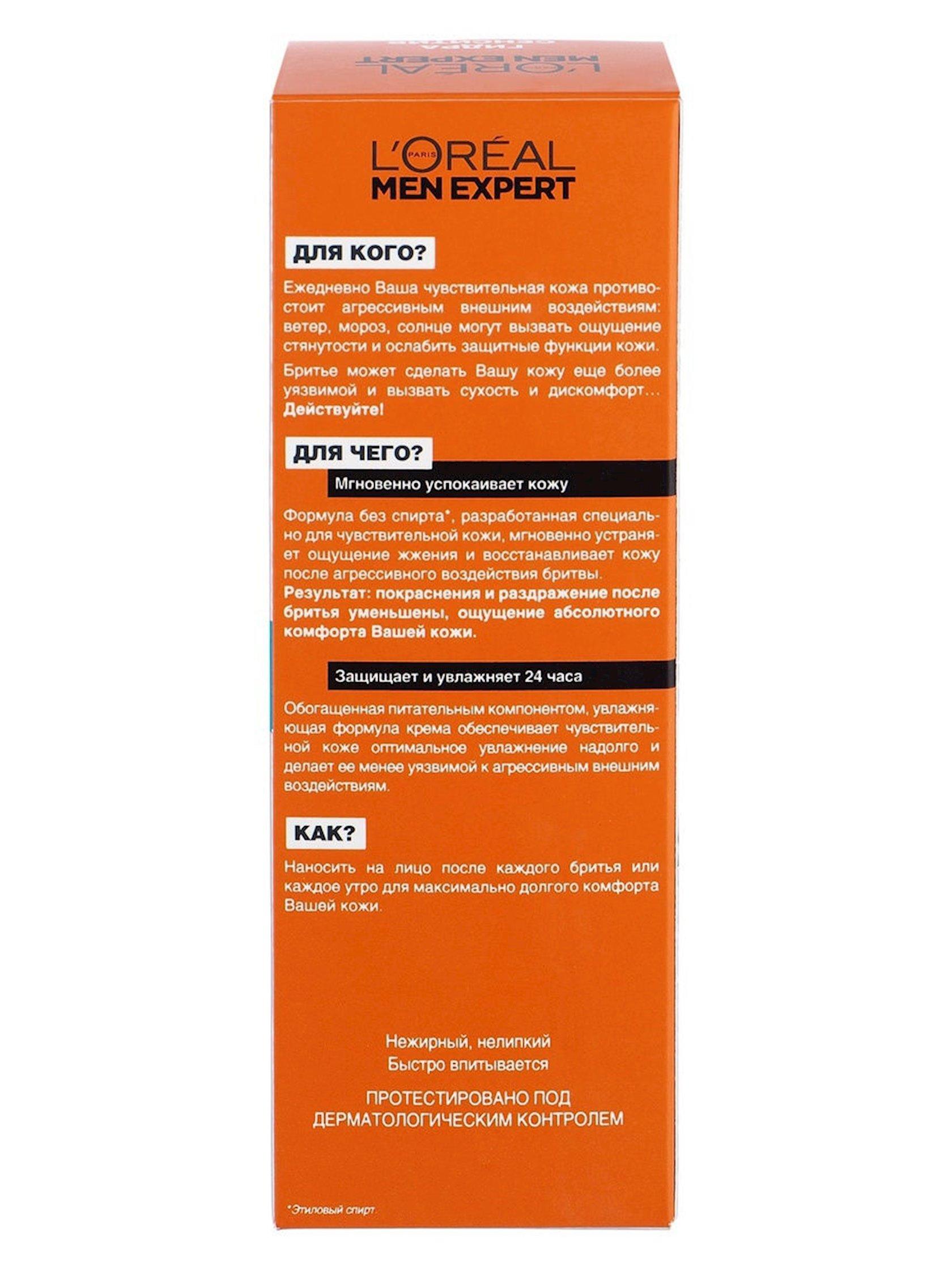 Təraş sonrası krem L'Oreal Paris Men Expert Hidra Sensitiv həssas dəri üçün, 75 ml