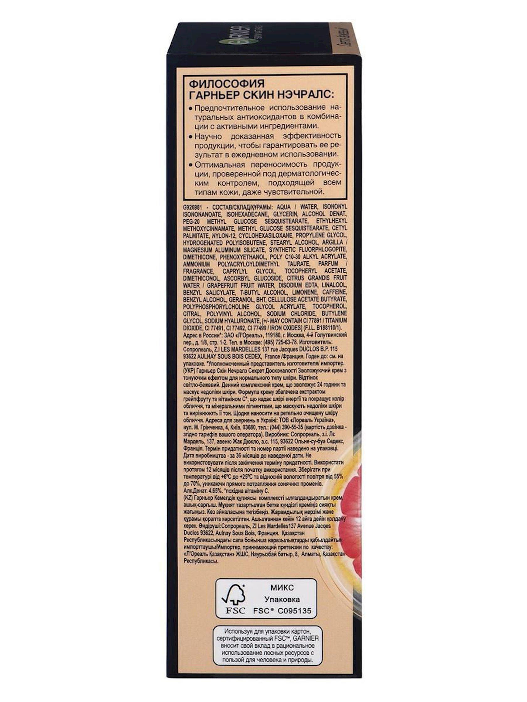 BB-krem normal dəri üçün Garnier Skin Naturals Mükəmməlliyin sirri Açıq bej 50 ml
