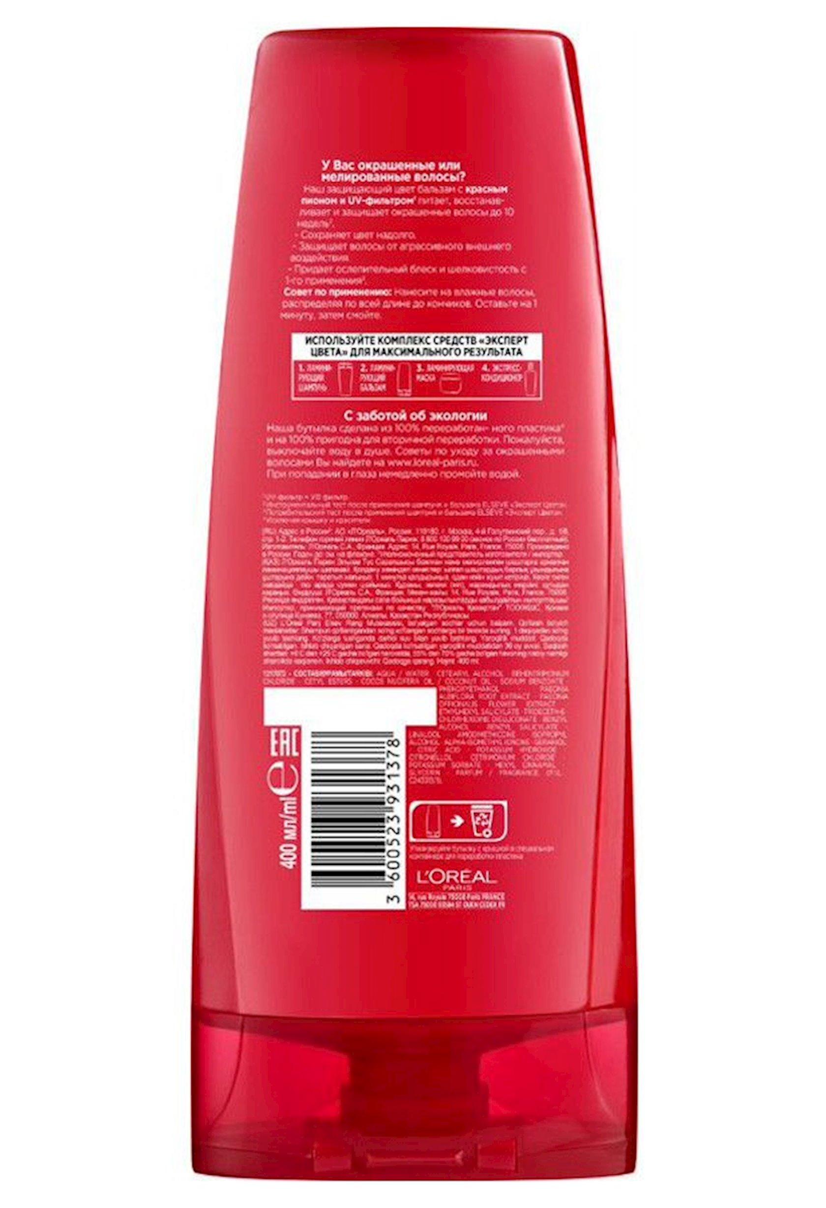 Saçlar üçün balzam L'Oréal Paris Elseve Rəng Eksperti Laminasiyaedici, 400 ml
