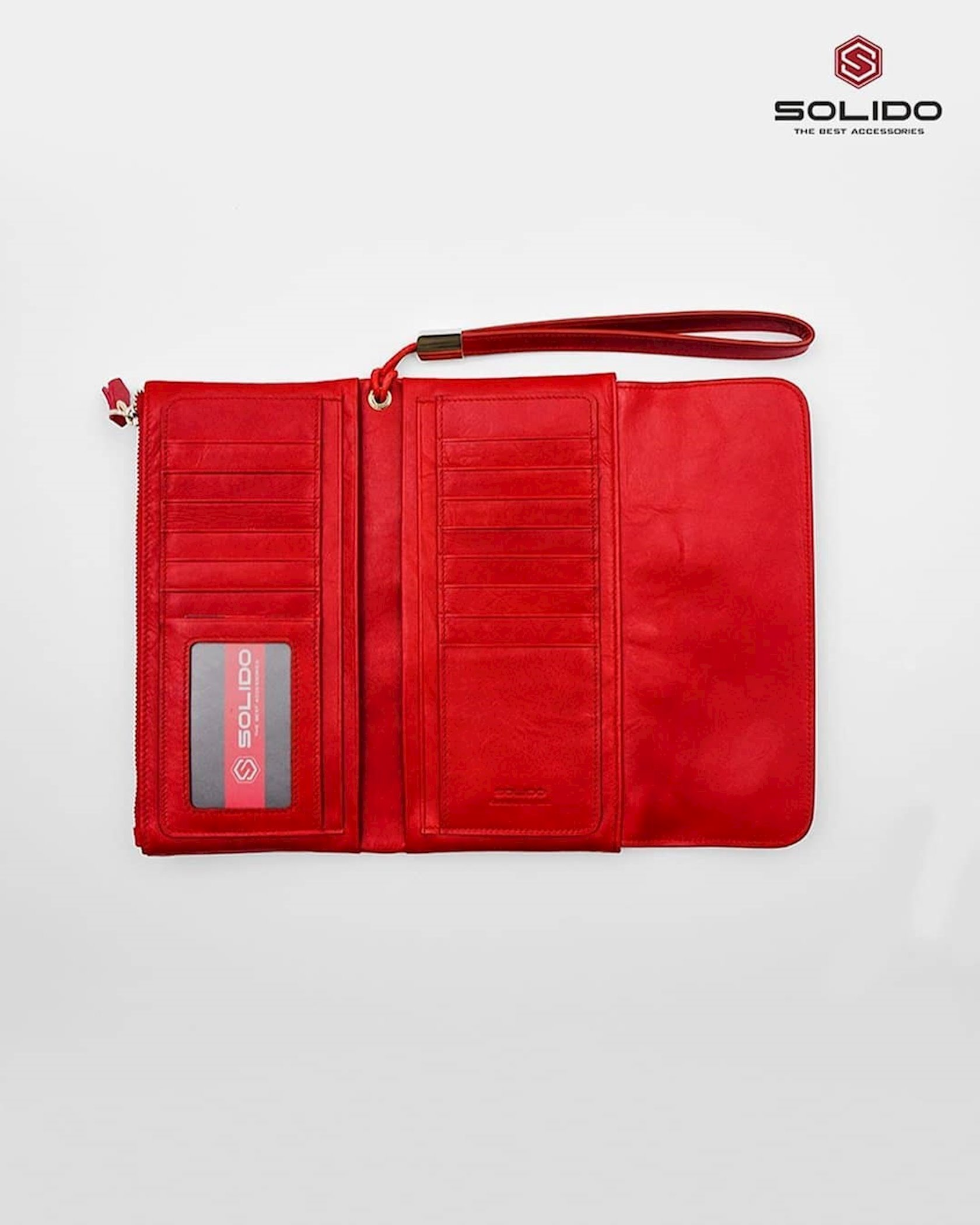 Qadınlar üçün dəri pulqabı Solido 35-F001 Qırmızı