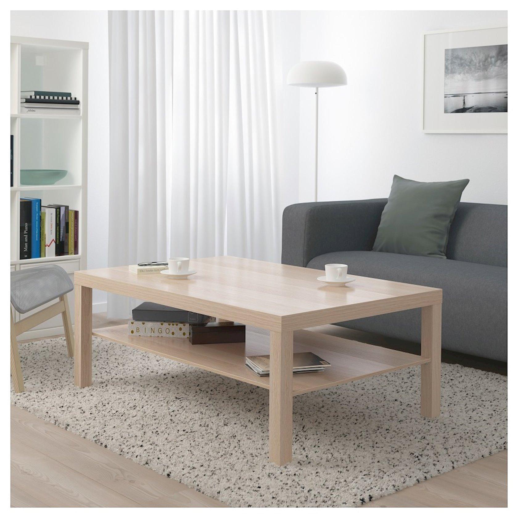 Jurnal masası Ikea Lack, ağardılmış palıd, 118x78x45sm