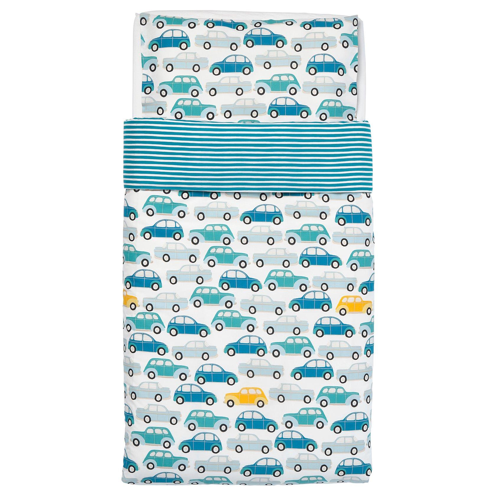 Yorğanüzü və yastıqüzü Ikea Rörande, pambıq, arabalar, göy, 110x125/35x55sm