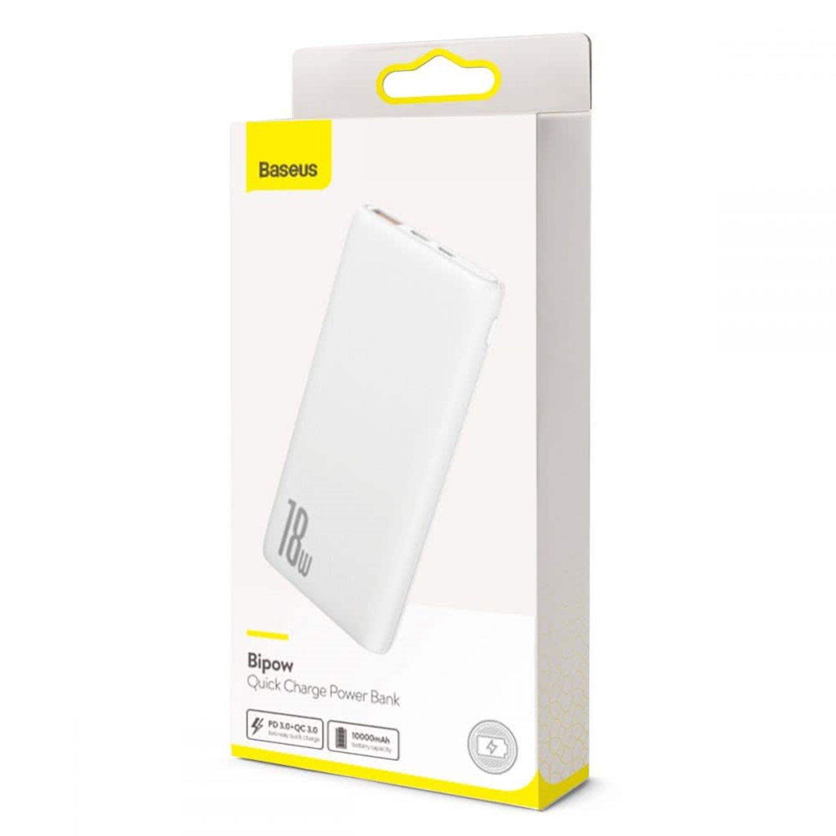 Powerbank Baseus Bipow Quick Charge Power Bank PD+QC 10000mAh White