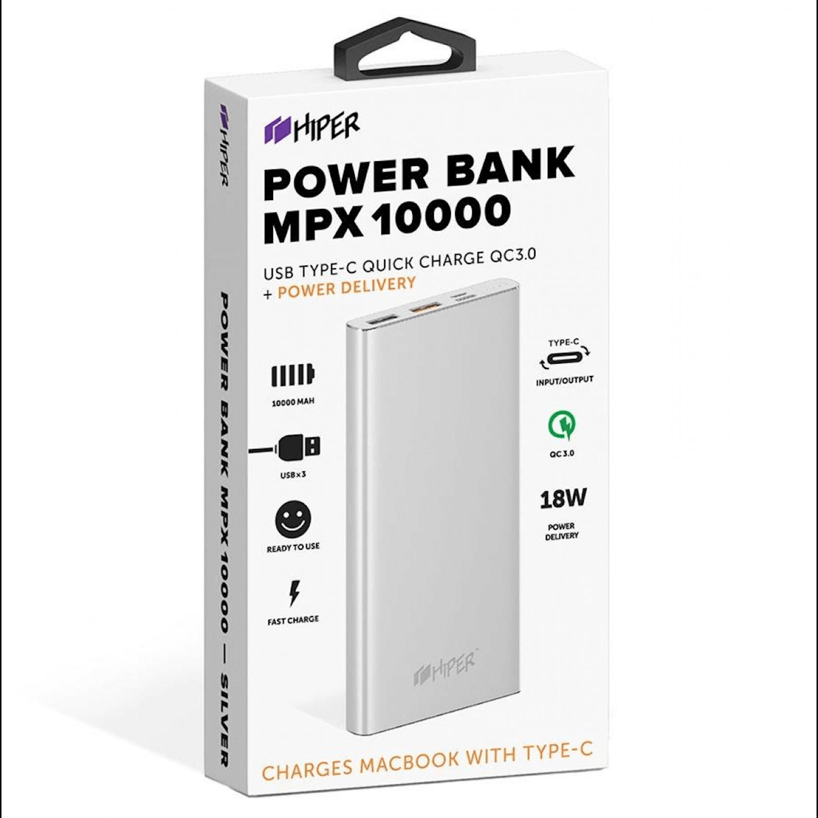 Xarici akkumulyator Hiper MPX10000 Silver