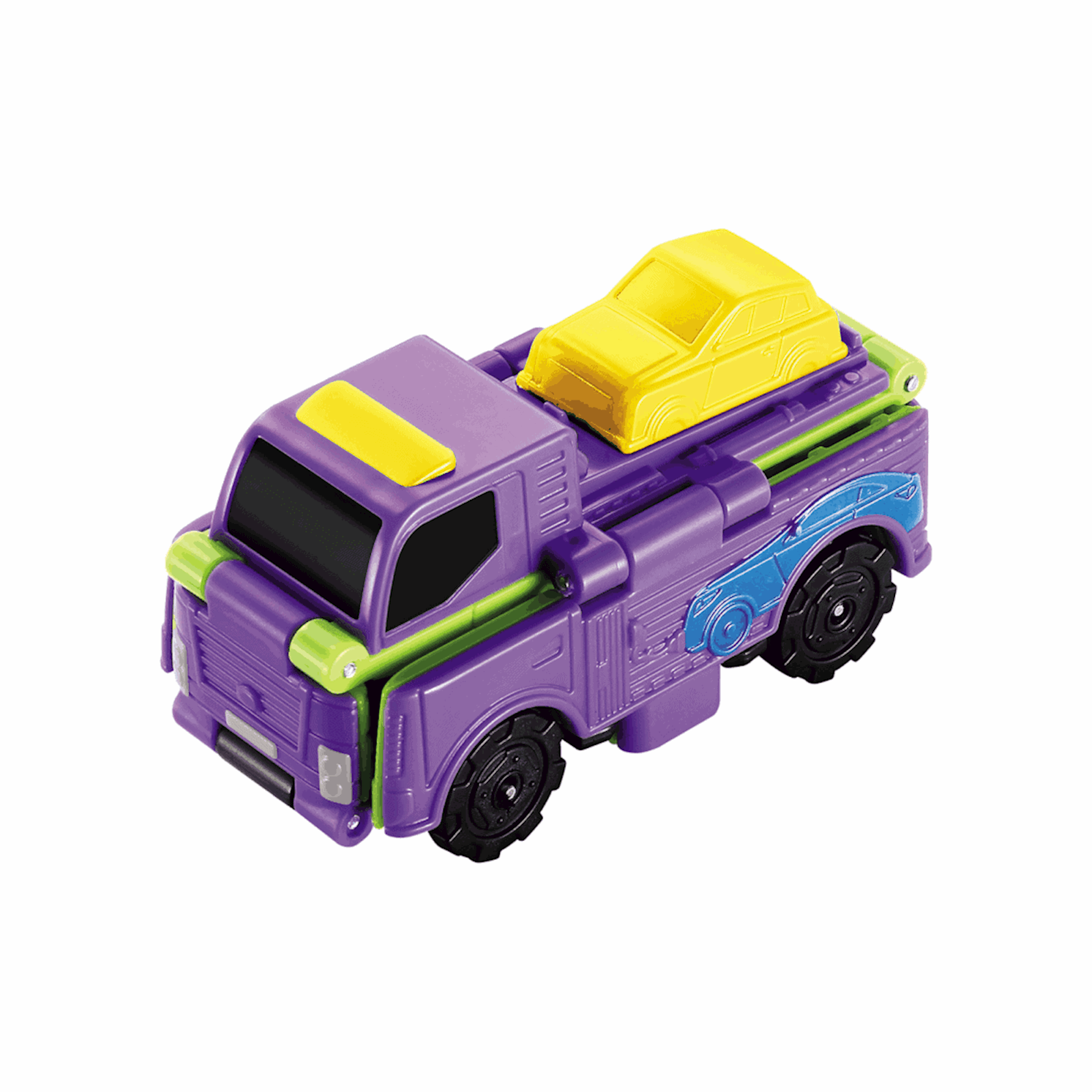 Maşın-transformer TransRacers Timber Truck & Transporter, 3+ yaş, plastik, yaşıl/bənövşəyi