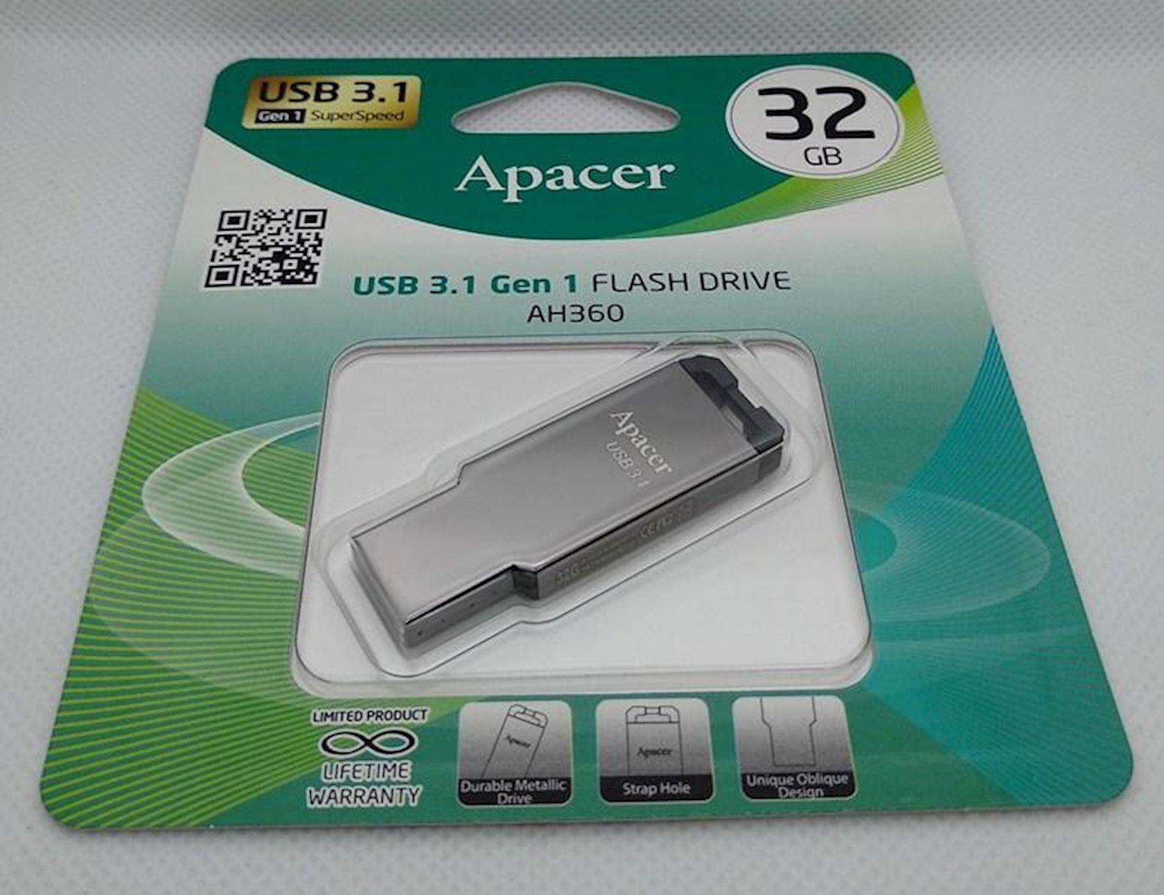Fləş kart Apacer USB 3.1 Gen1 AH360 Black Nickel 16 Gb