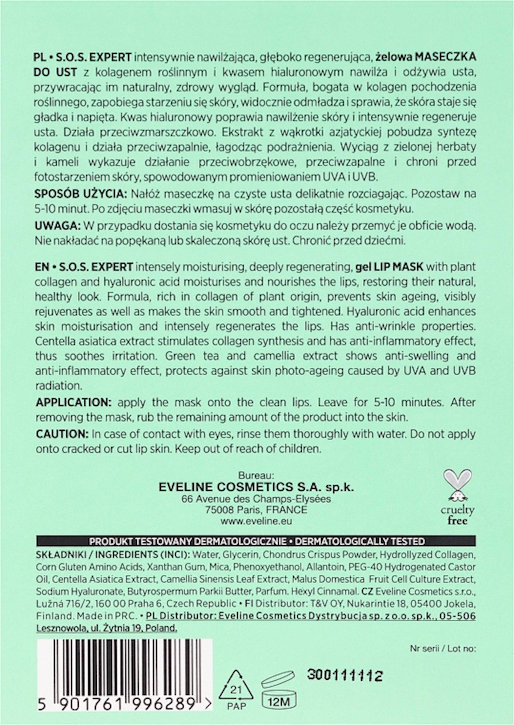 Dodaqlar üçün gel maska Eveline Cosmetics Lip Therapy S.O.S. Expert Intensely Moisturising