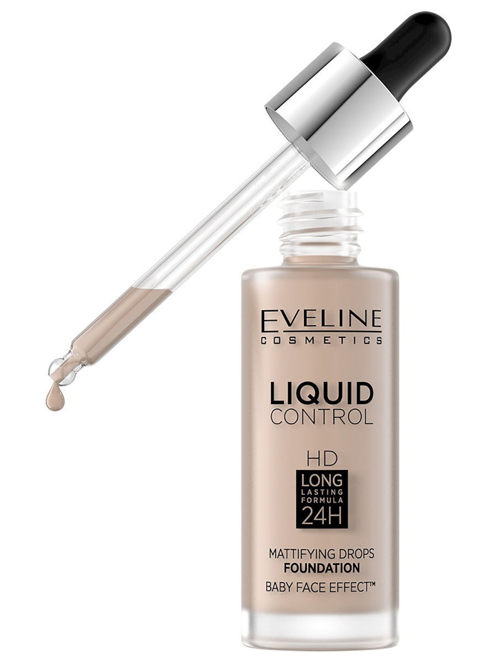 Maye tonal baza Eveline Liquid Control HD Mattifying Drops Foundation 020 Rose Beige 32 ml