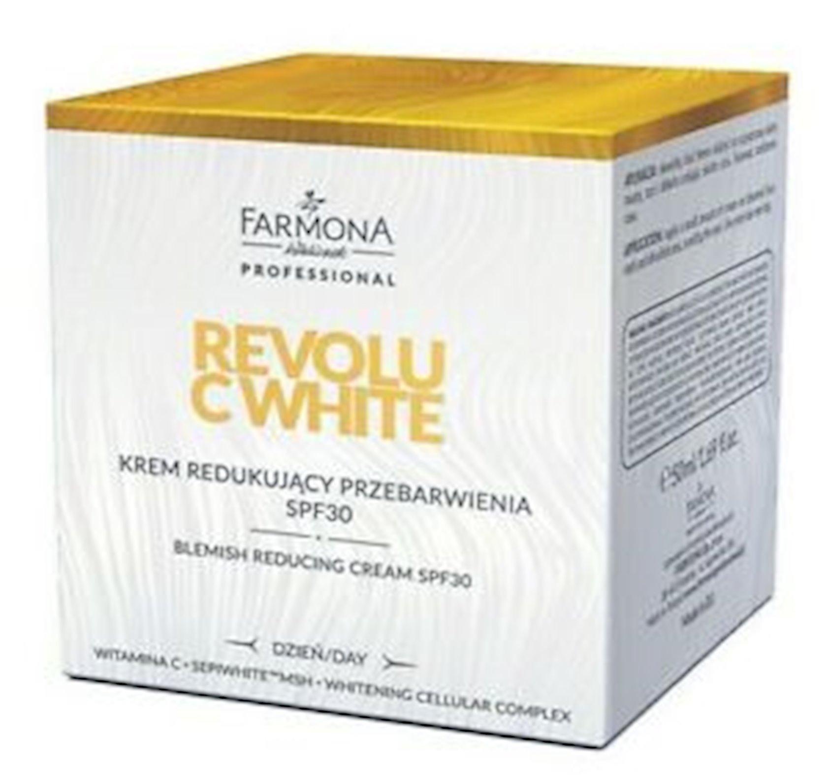 Rəng dəyişməsinə qarşı üz kremi Revolu C White SPF30 50 ml