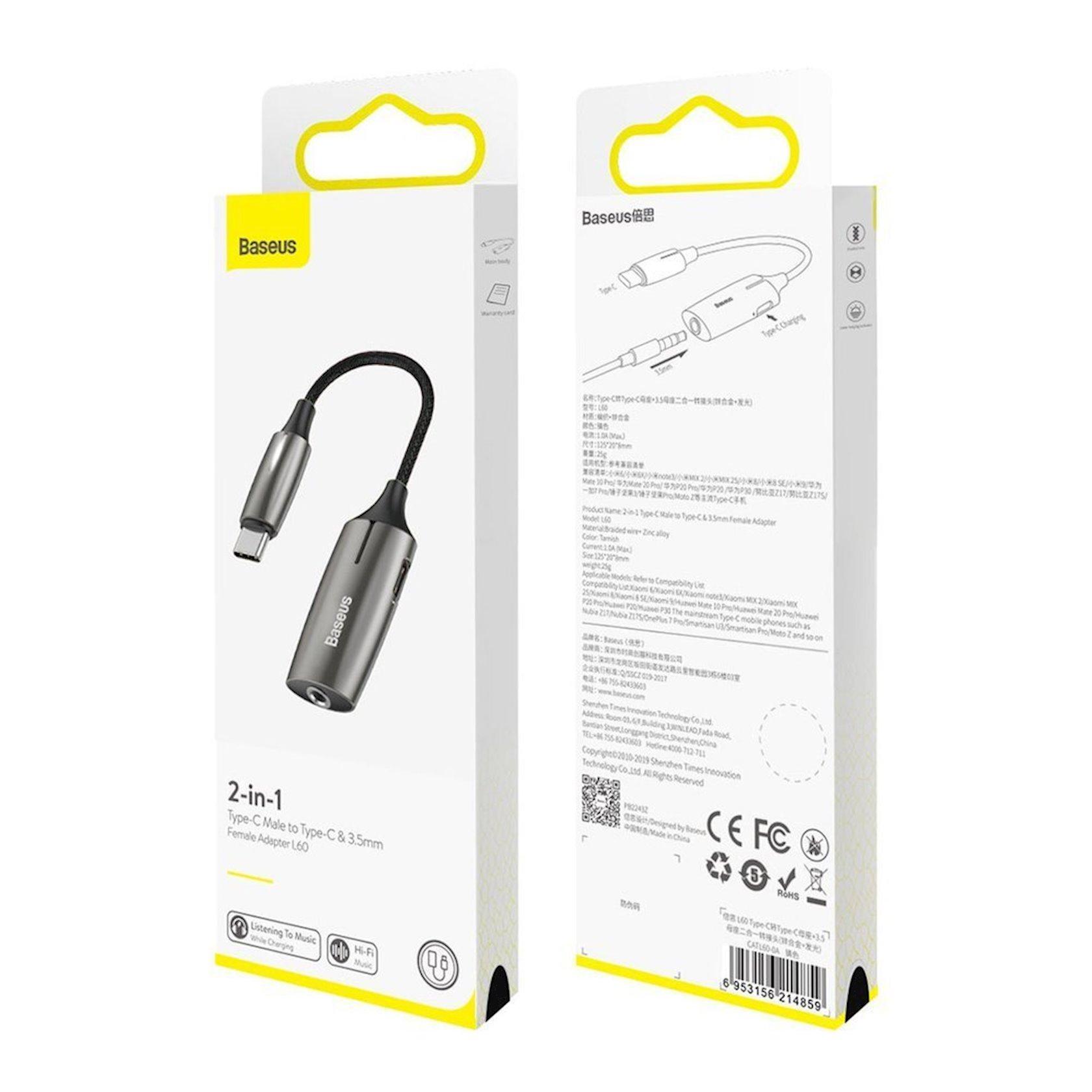 Ötürücü Baseus Audio converter L60 adapter from USB type C to USB type C (female) + headphones jack 3, 5 mm (female) black (CATL60-0A)