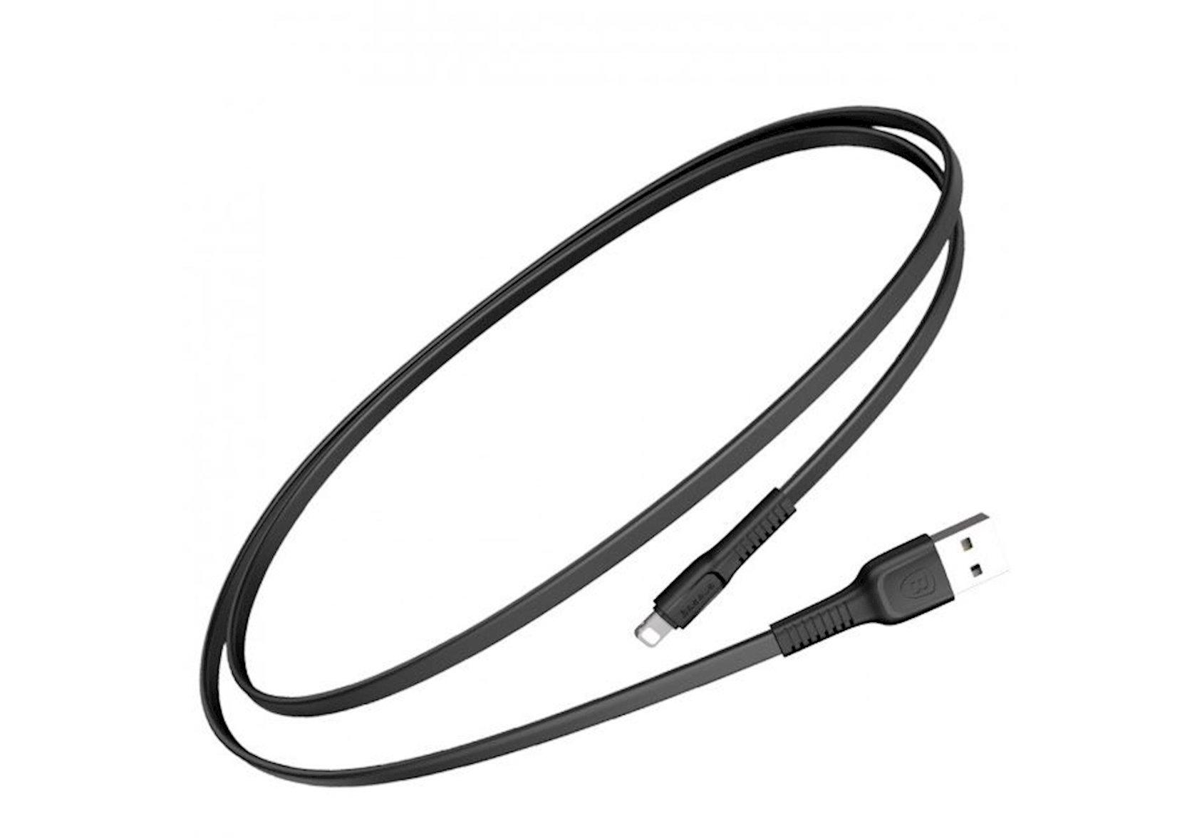 USB Kabel Baseus Tough seriyasından - işıqlı 2A 1m Calzy-B01, qara