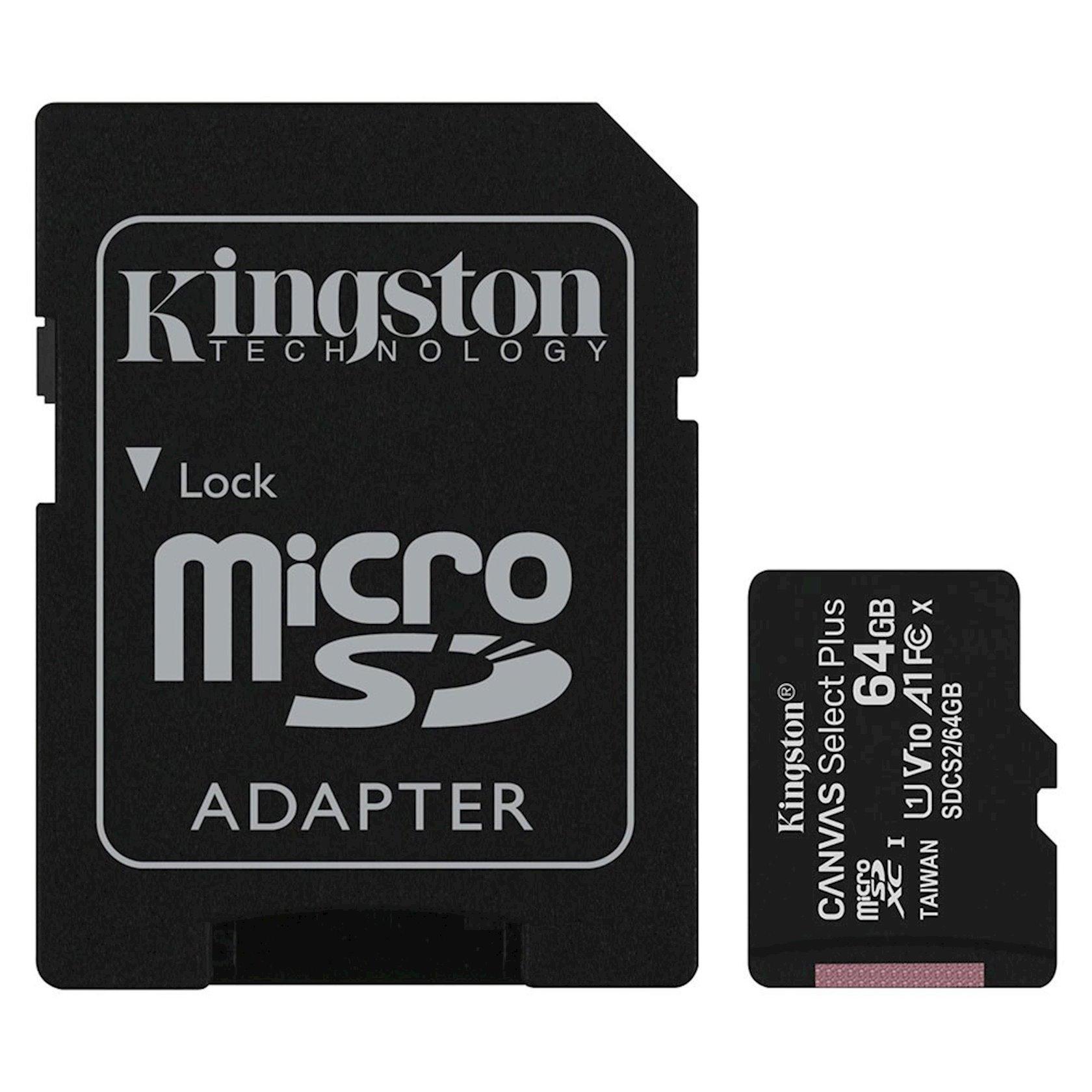 Yaddaş kartı Kingston 64G micSD Select Pls 100R C10