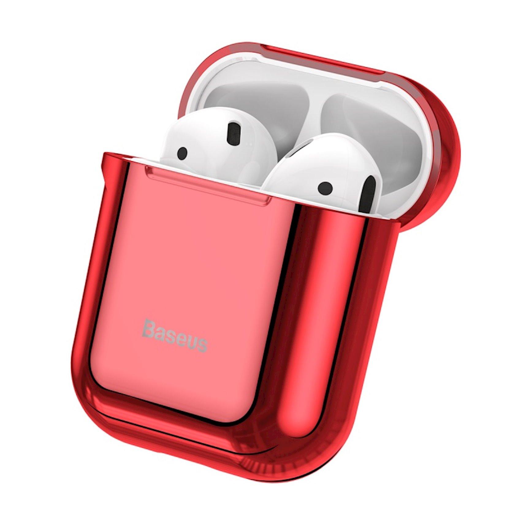 Çexol qulaqlıqlar üçün Baseus Shining Hook Case Apple Airpods 1/2 Red