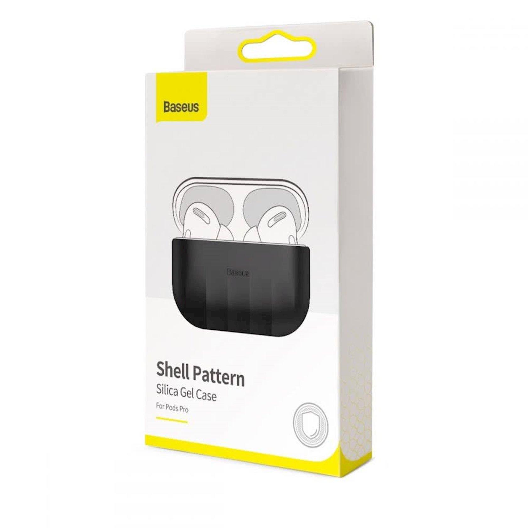 Çexol qulaqlıqlar üçün Baseus Shell Pattern Black Apple Airpods Pro
