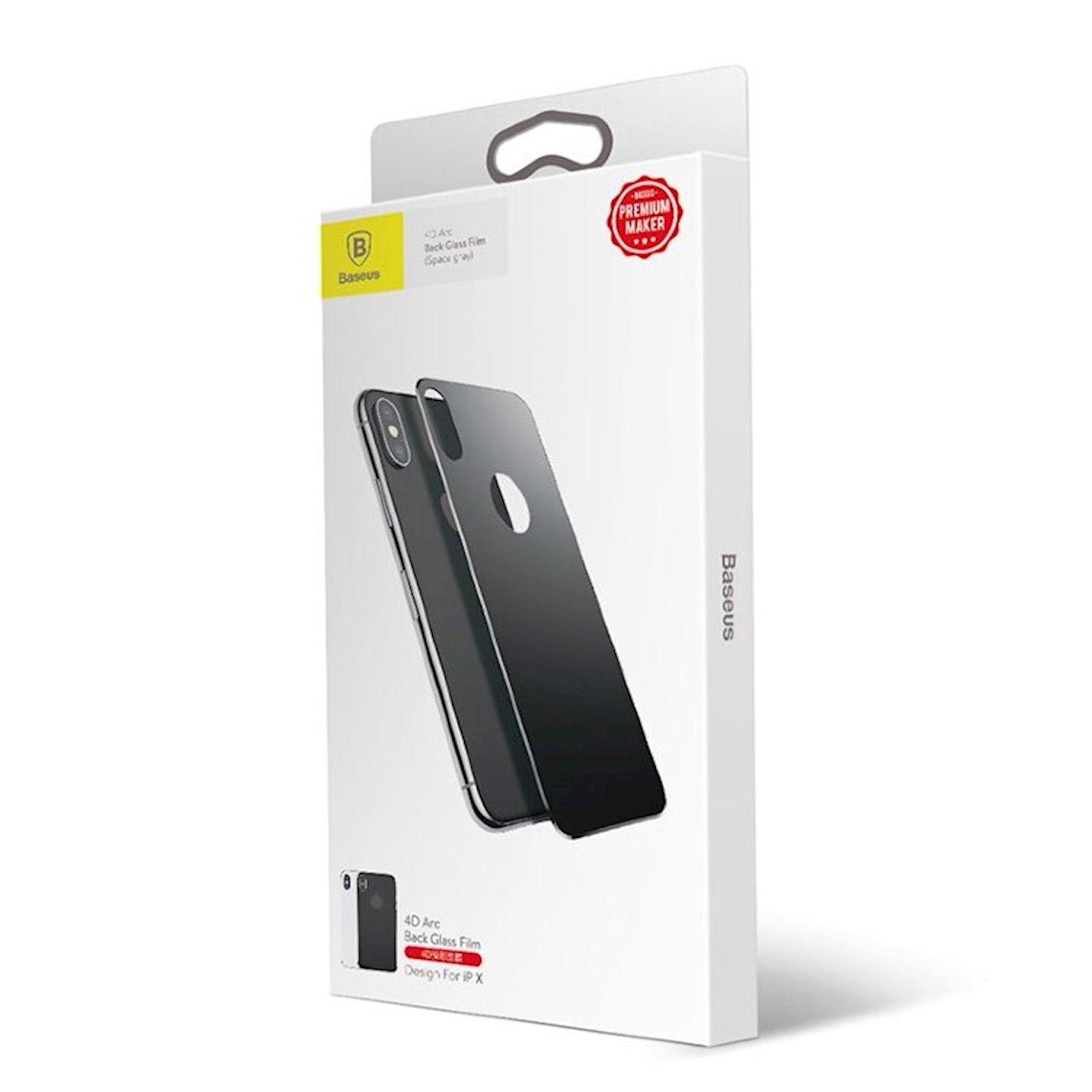 Qoruyucu şüşə Baseus Full coverage curved tempered glass rear protector Sgapiph58-bm01 Apple iPhone X/XS üçün, qara