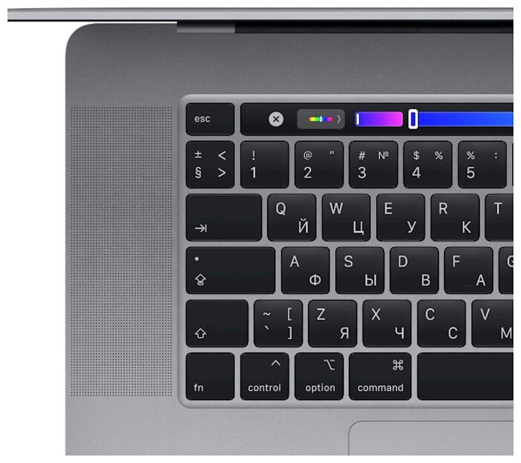 Noutbuk Apple MacBook Pro 16 inch, Touch Bar, IPS, Intel Core i7 9750H 2.6GHz, 16Gb, 512Gb SSD, Radeon Pro 5300M - 4096 Mb, macOS, MVVJ2RU/A, Boz