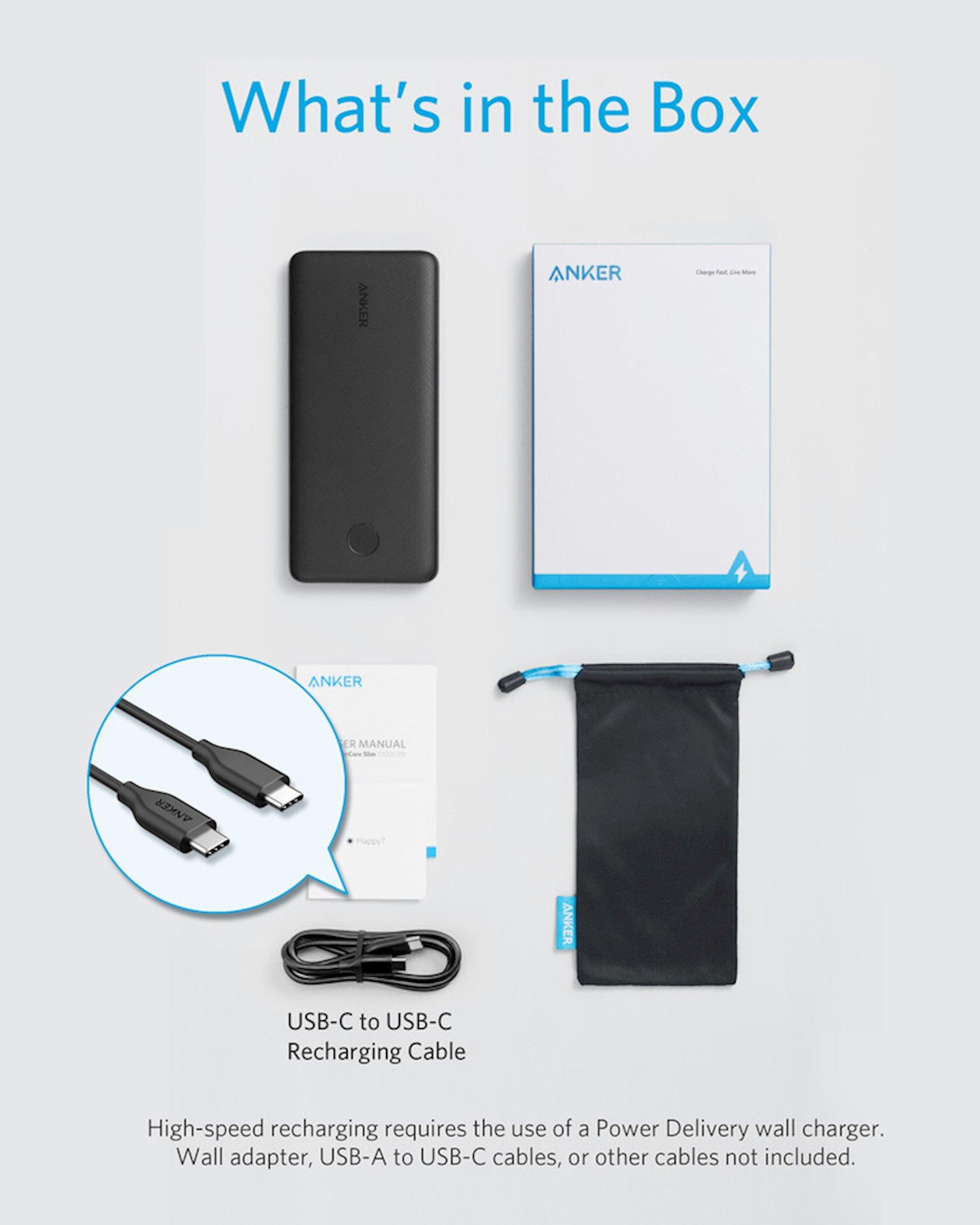 Power bank Anker PowerCore Slim 10000 PD qara