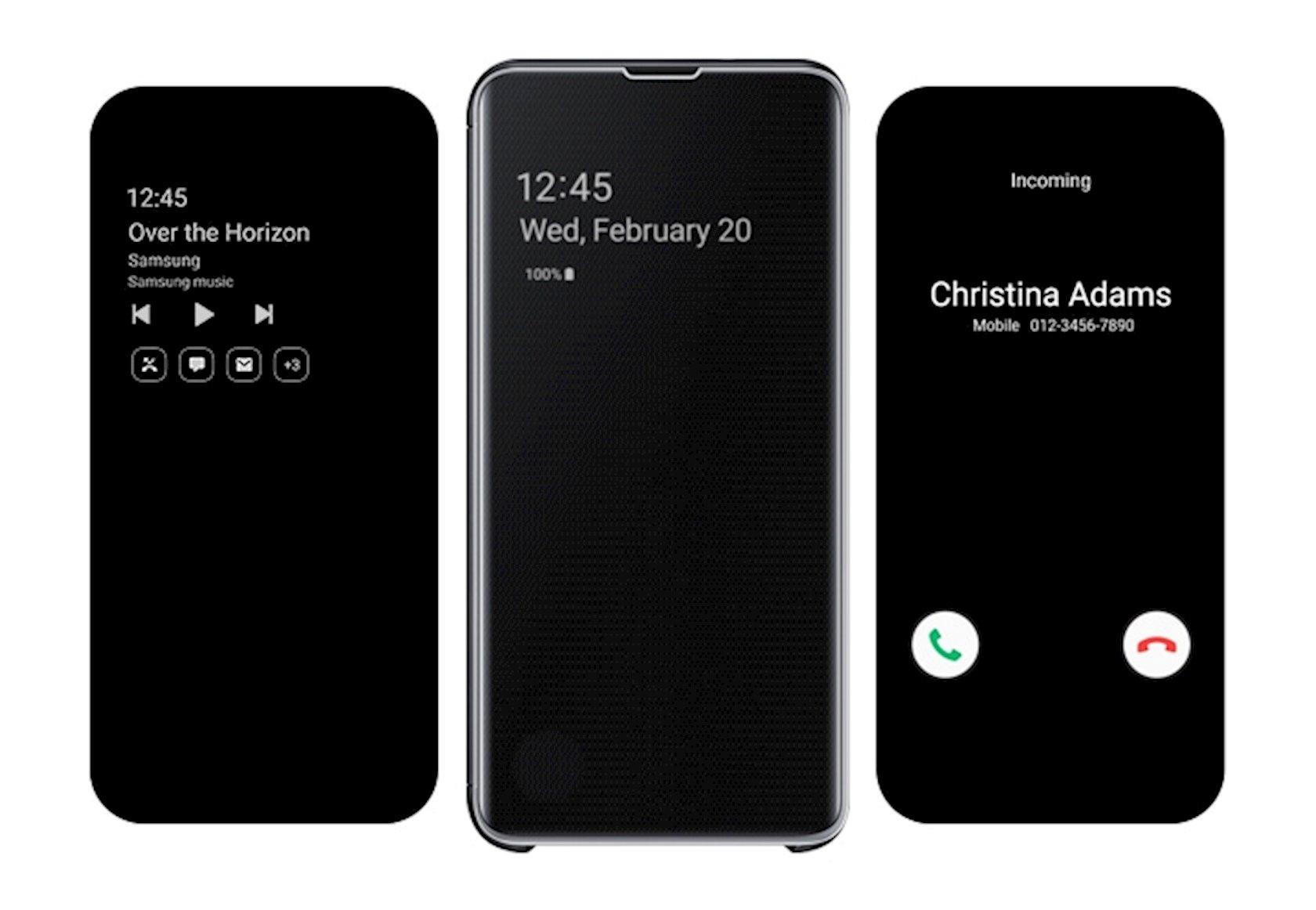 Çexol Samsung Clear View Cover Samsung Galaxy S10E üçün Black