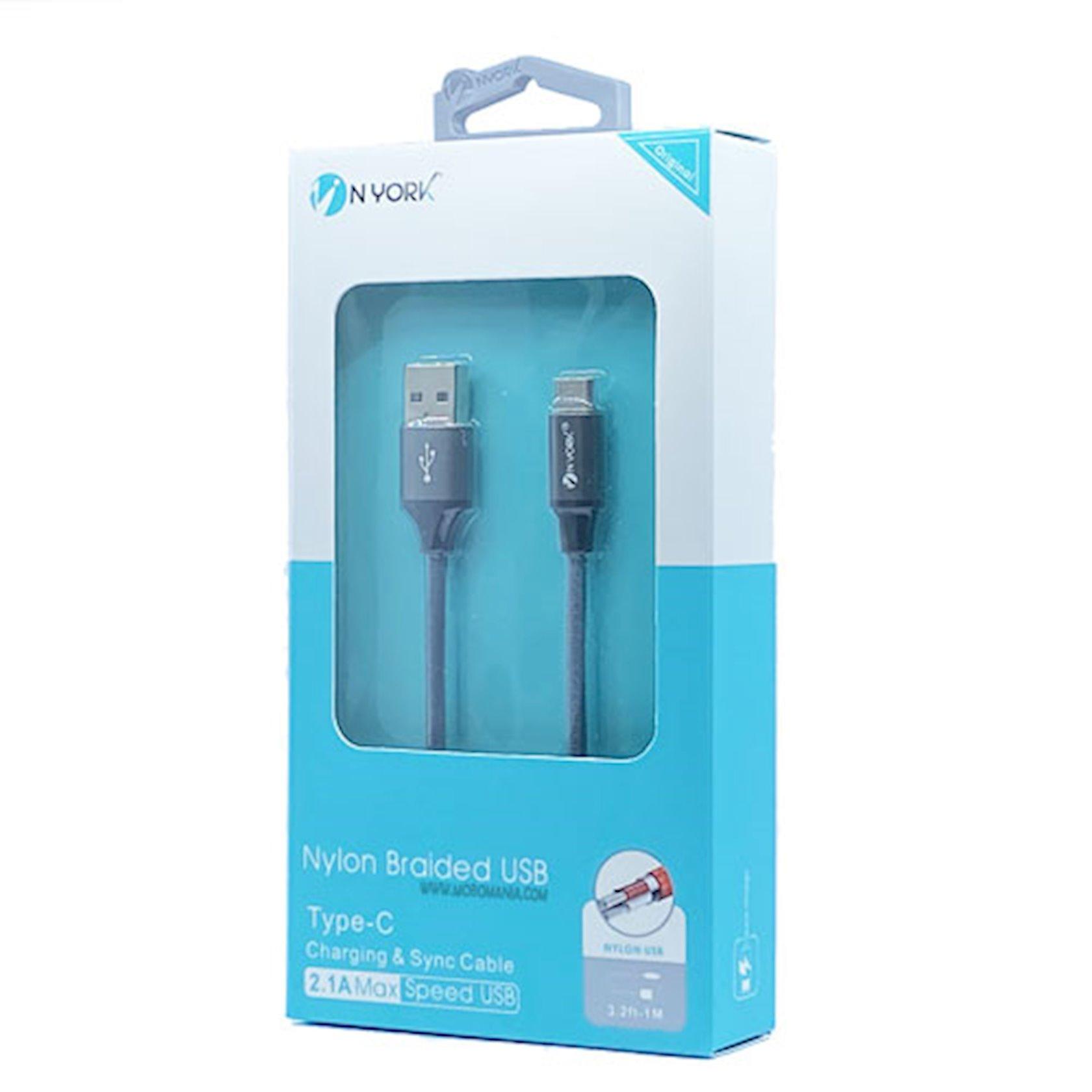 Kabel Nyork Nylon Braided USB Cable Type-C