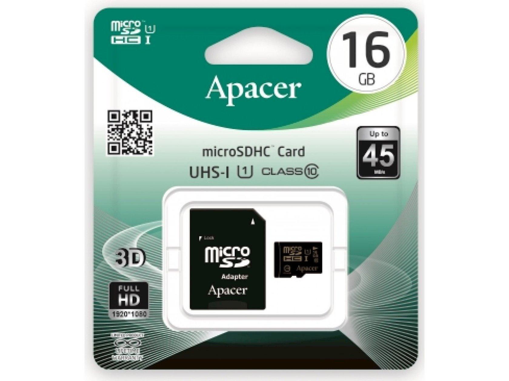 Yaddaş kartı Apacer microSDHC Class10 16GB
