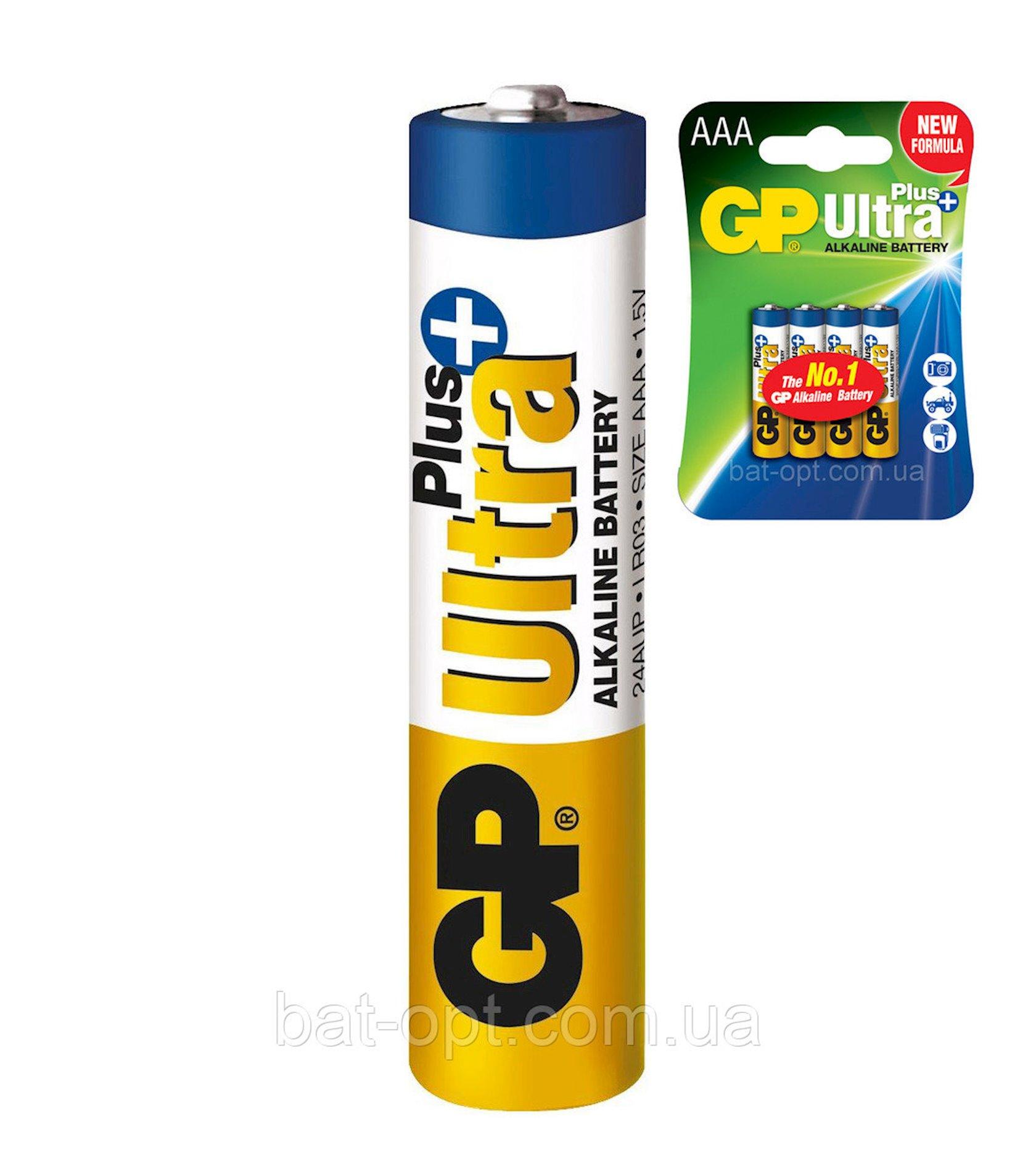Batareya GP AAA (LR03) Ultra Plus Alkaline 24AUP-U2 2 əd