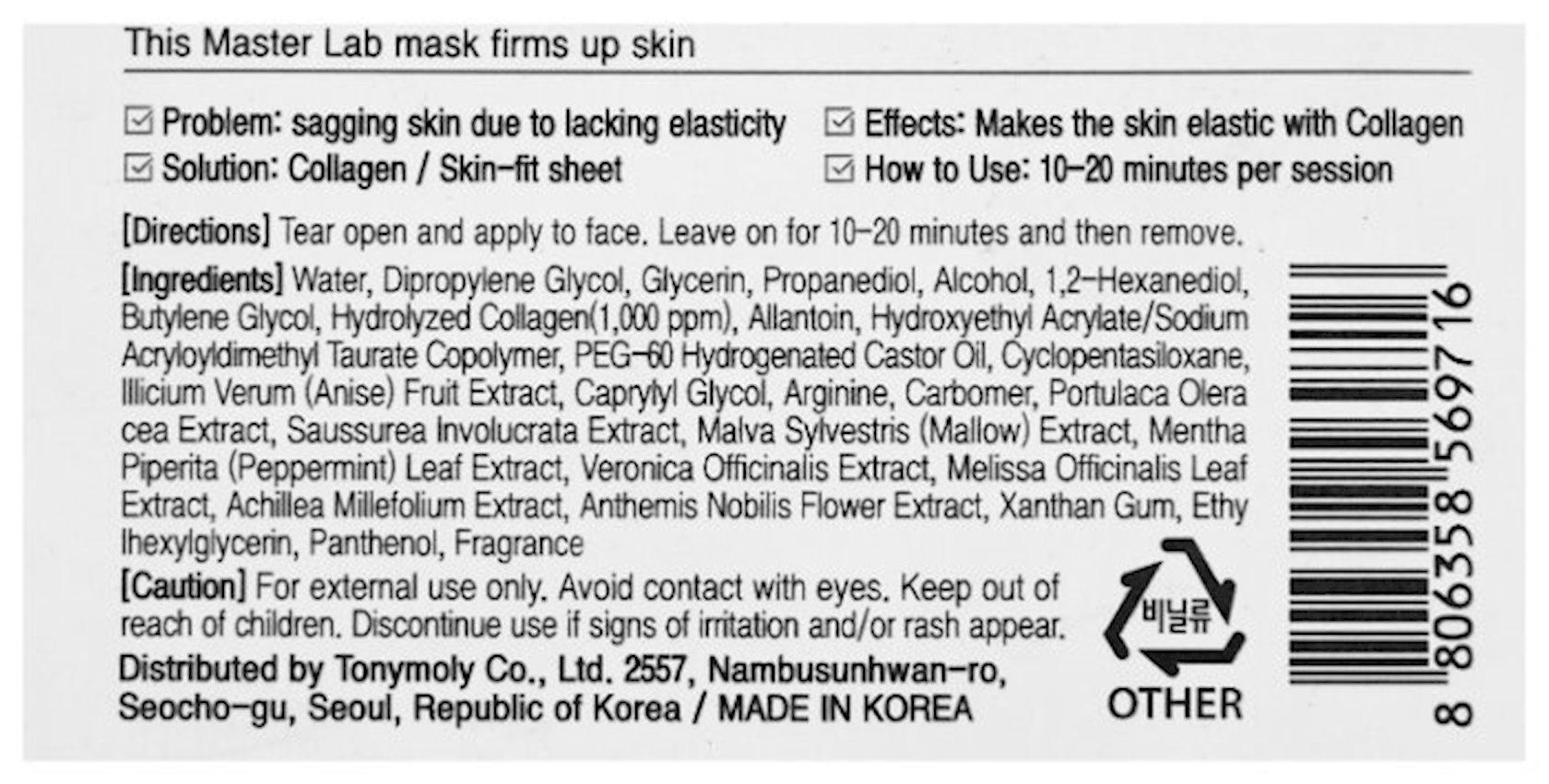 Parça maska Tony Moly Master Lab Collagen Mask