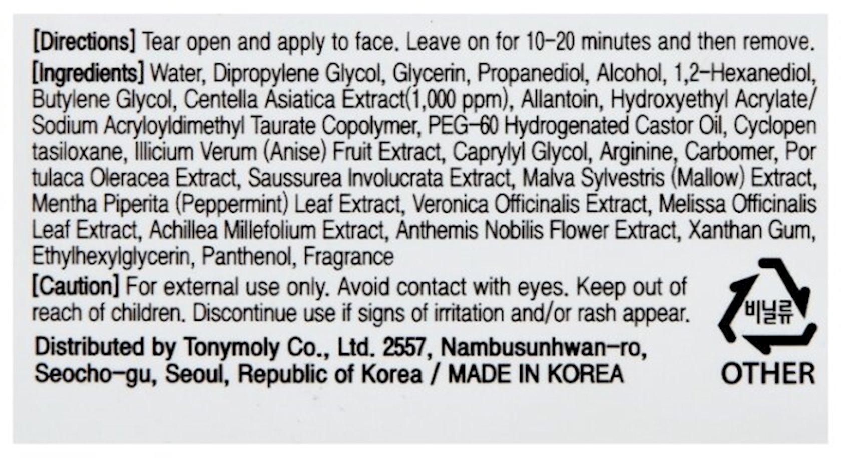Parça maska Tony Moly Master Lab Centella Asiatica Mask