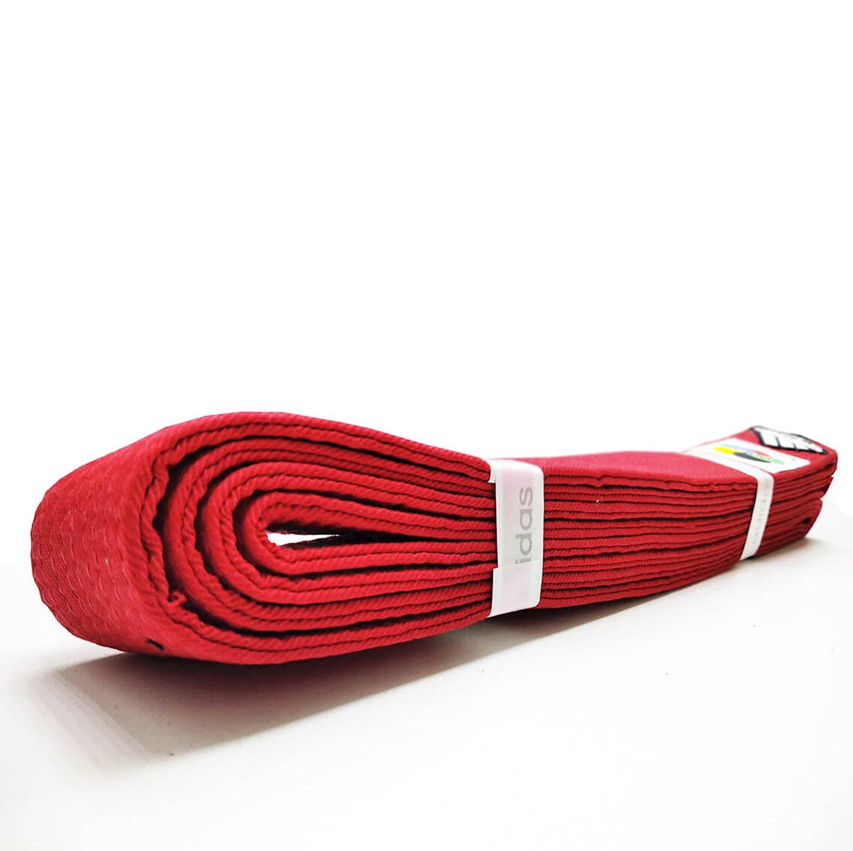 Karate üçün kəmər Adidas WKF Logo qırmızı, uzunluq 300 sm