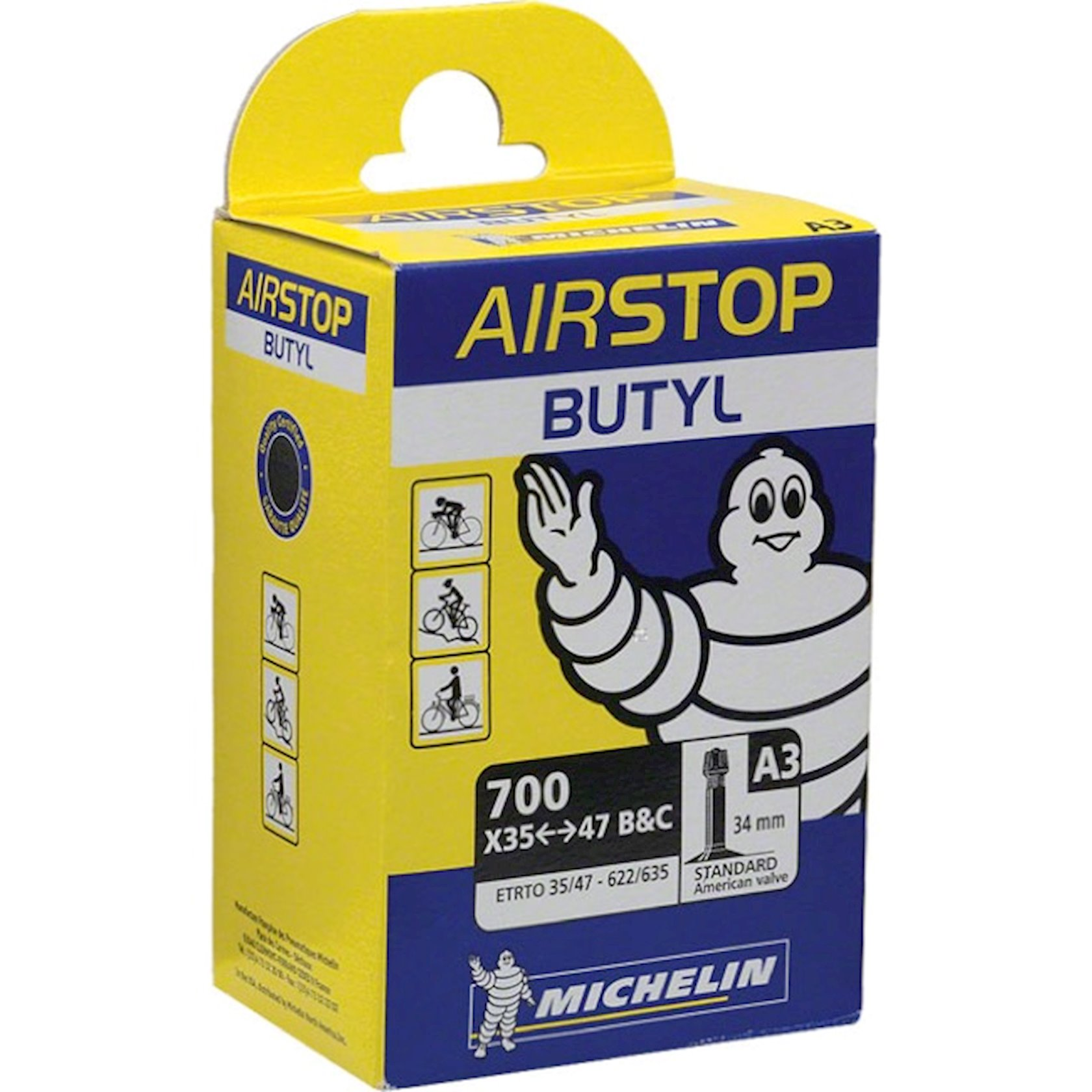 Kamera Michelin Airstop Schrader Tubes, qara, 700 x 35-47C ölçülü