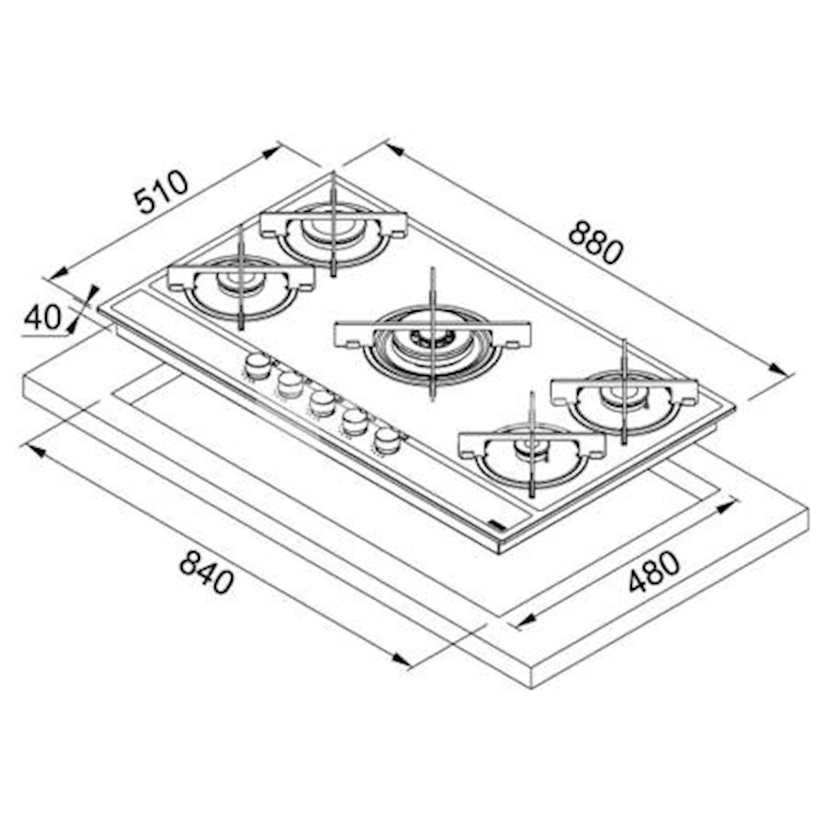 Bişirmə paneli Franke FHMA 905 4G DC ML E
