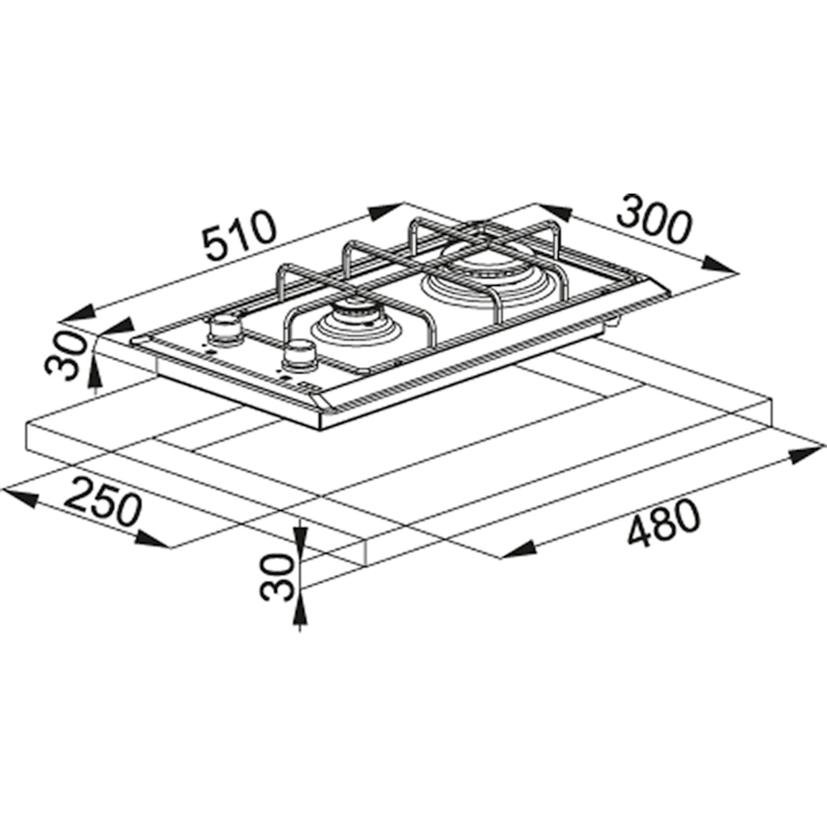Bişirmə paneli Franke FHM 302 2G XS C