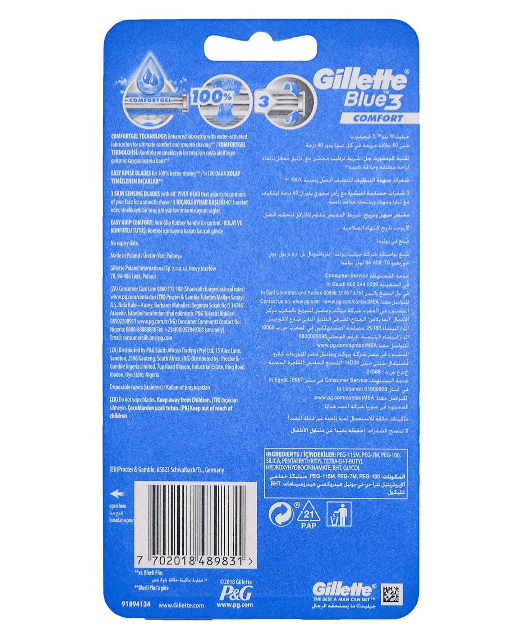 Ülgüc Gillette Blue 3 Comfort 6 ədəd